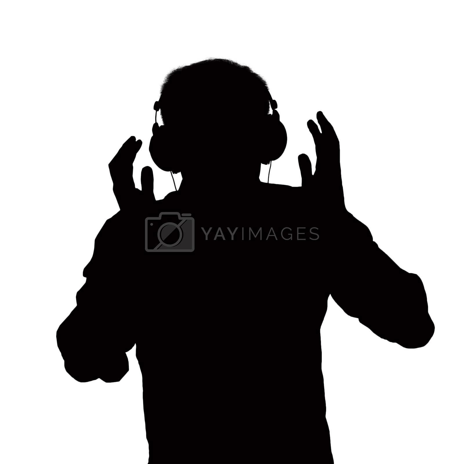 Silhouette of man listening to headphones.  by XiXinXing