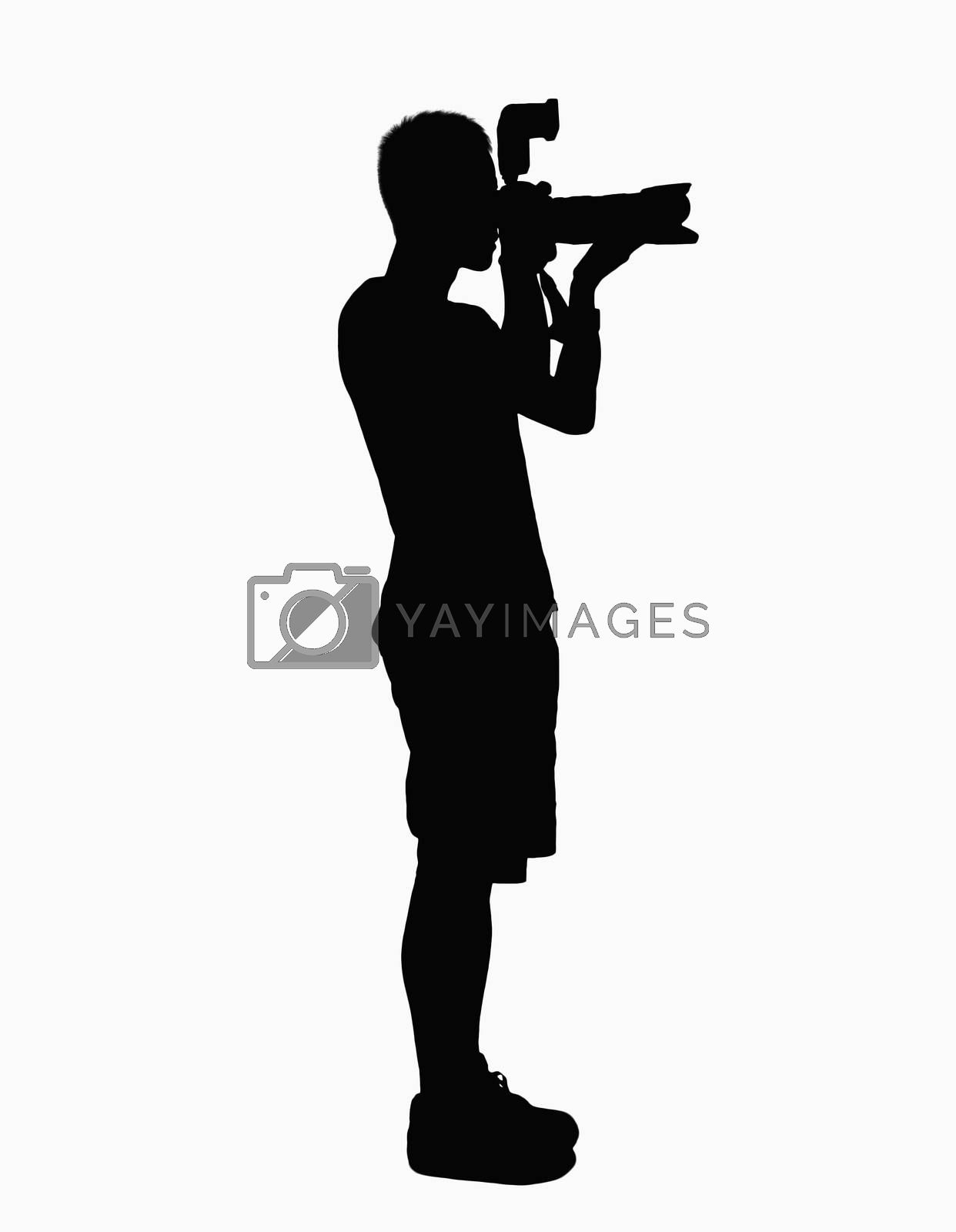 Silhouette of man holding camera. by XiXinXing