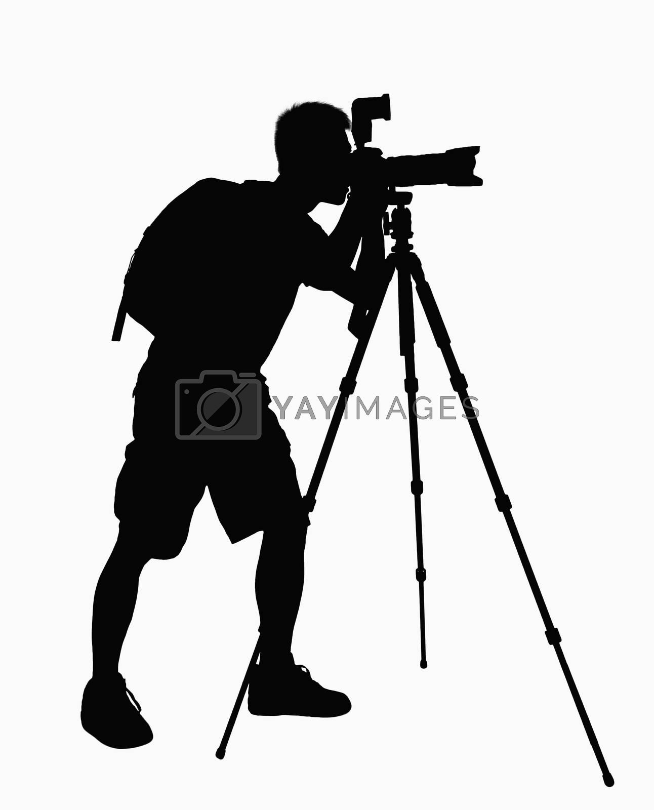 Silhouette of man taking pictures with camera on tripod. by XiXinXing