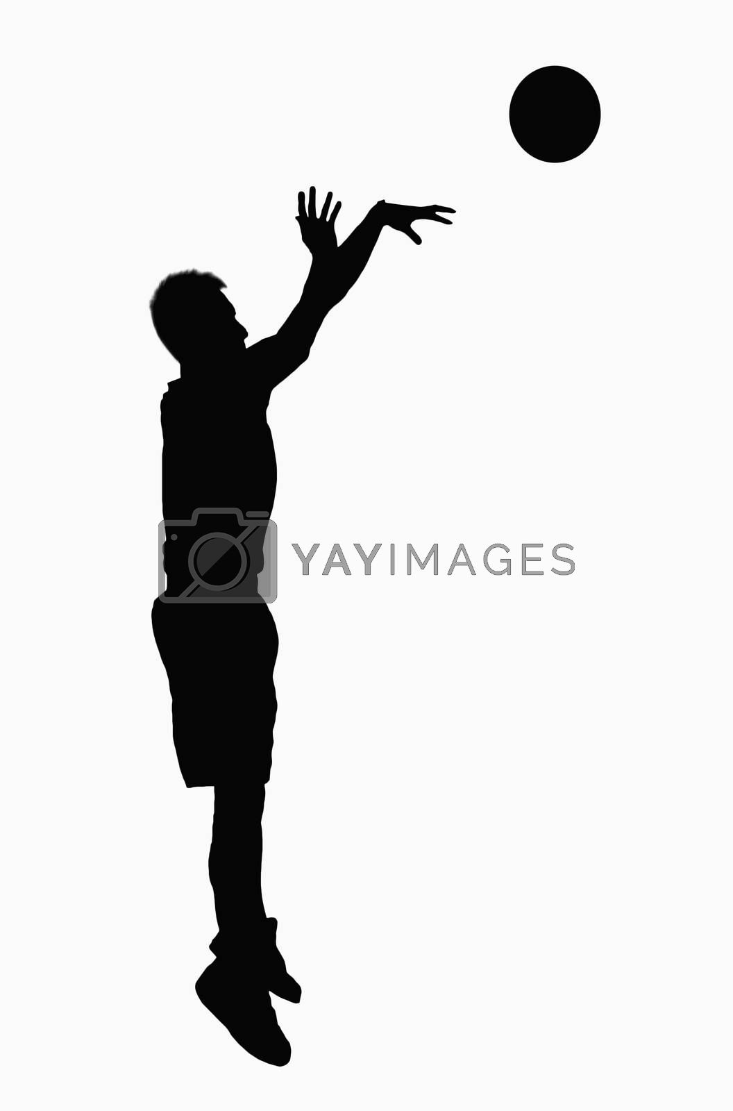 Silhouette of basketball player jumping. by XiXinXing