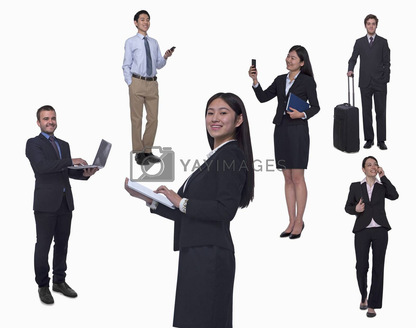 Group of business people working, talking on phone, walking, studio shot, full length