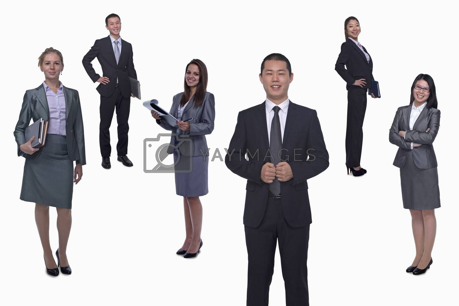 Medium group of smiling business people, portrait, full length, studio shot
