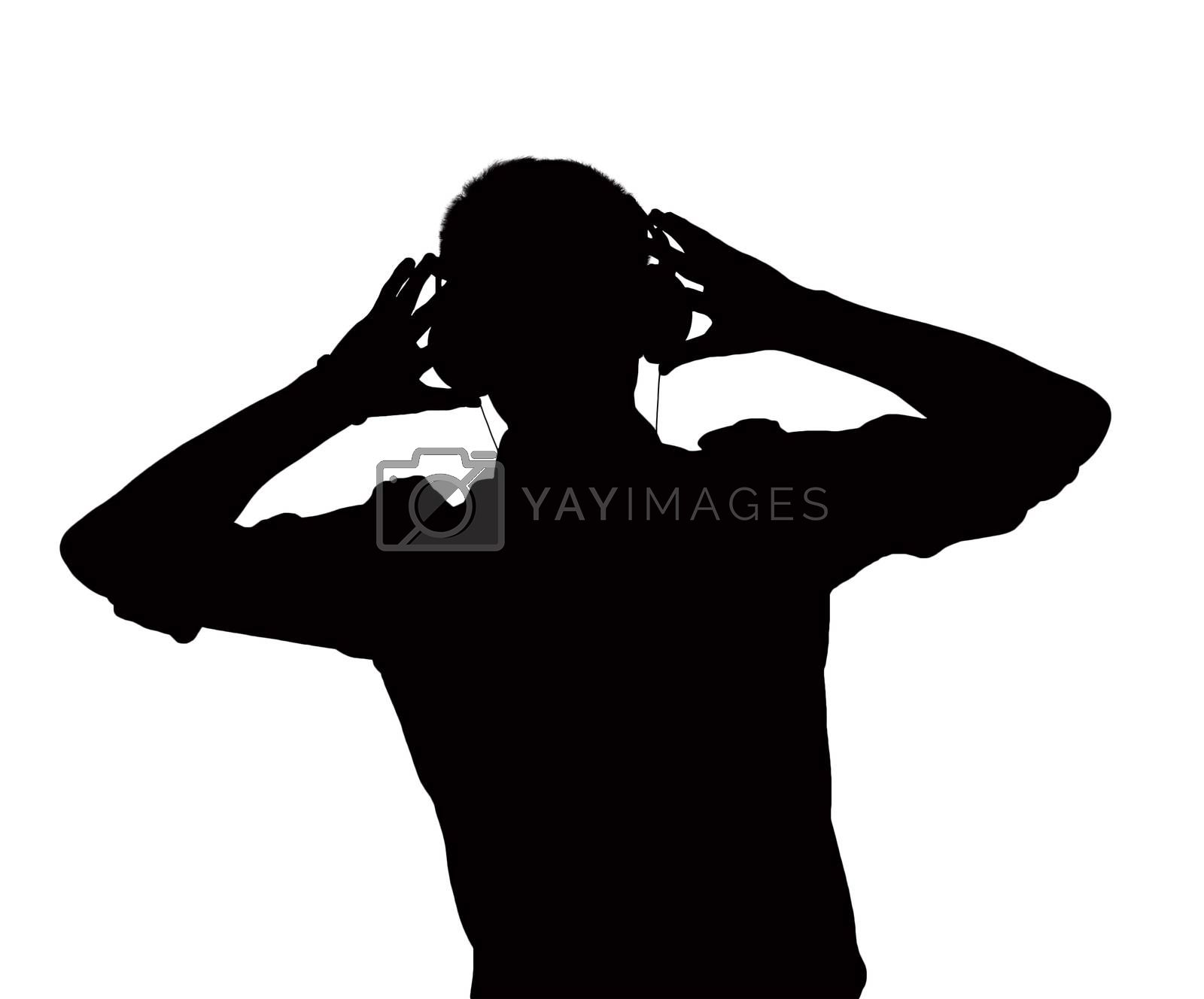 Silhouette of man listening to headphones.