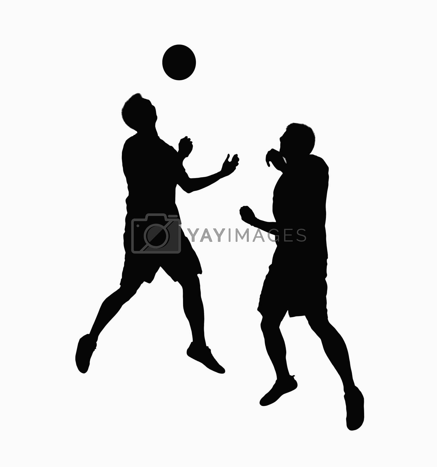 Silhouette of two soccer players fighting for ball.