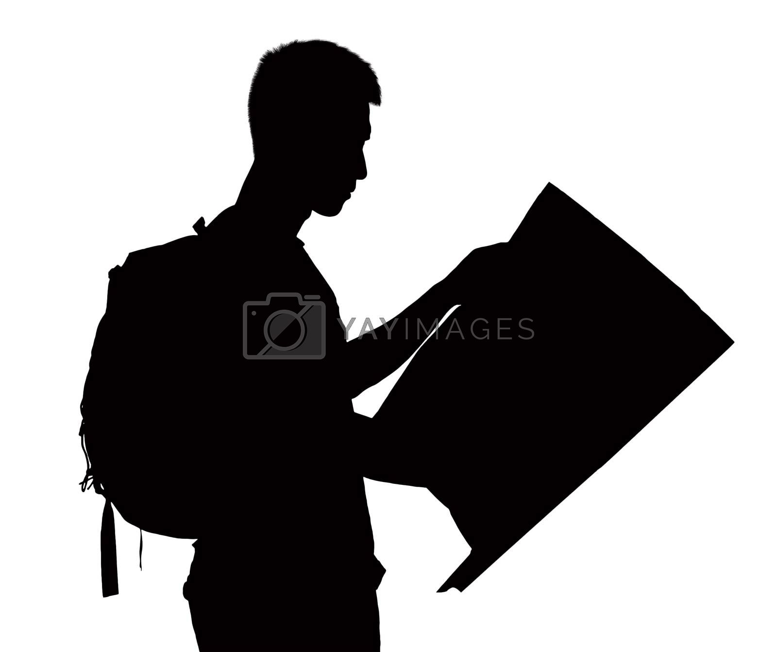 Silhouette of man looking at map.