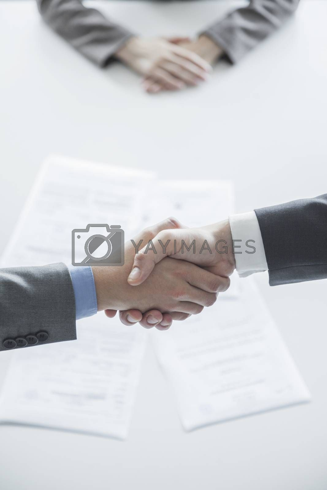 Two business people shaking hands over the table, hands only