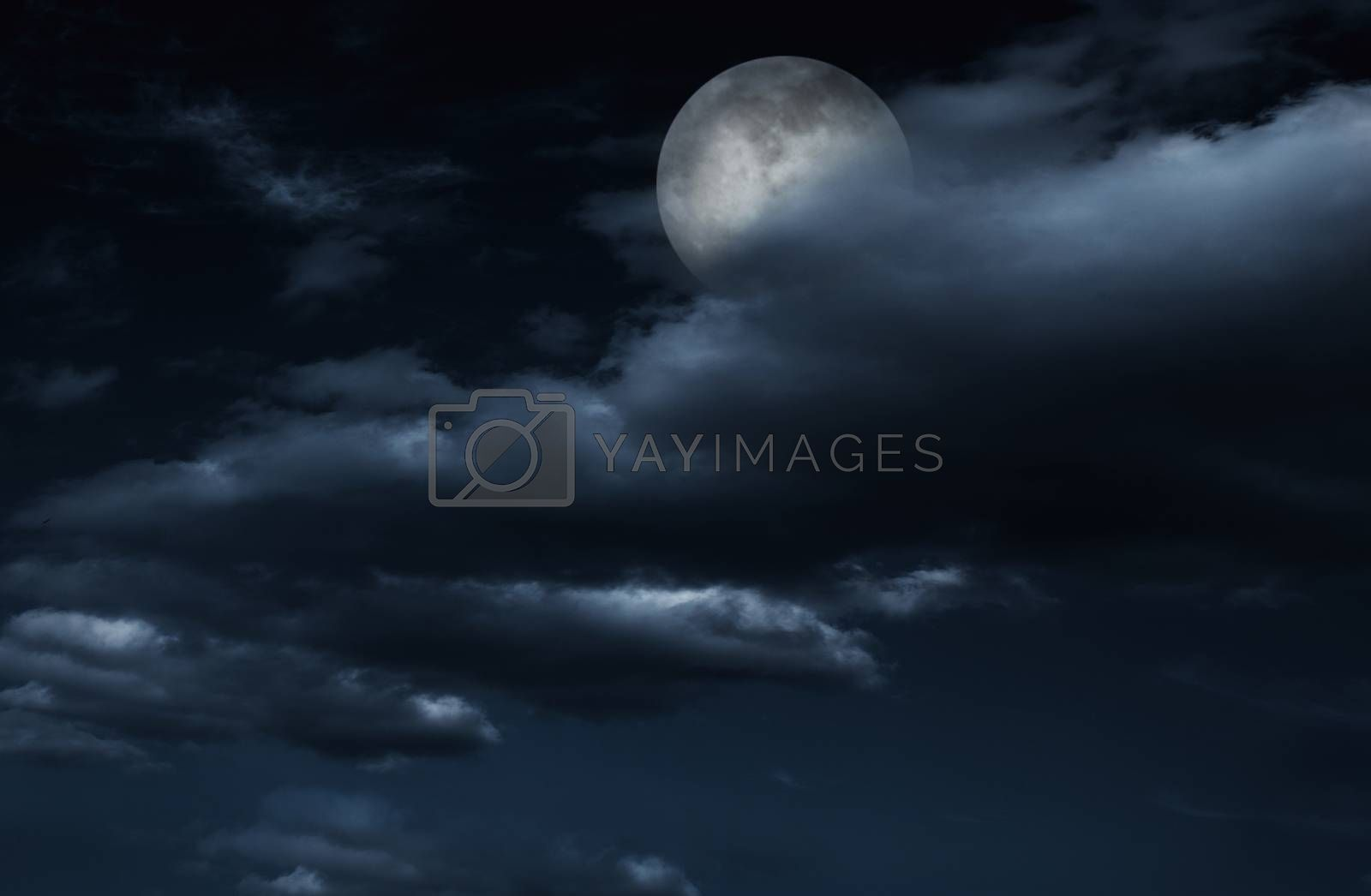 Full moon in night sky with clouds. by XiXinXing