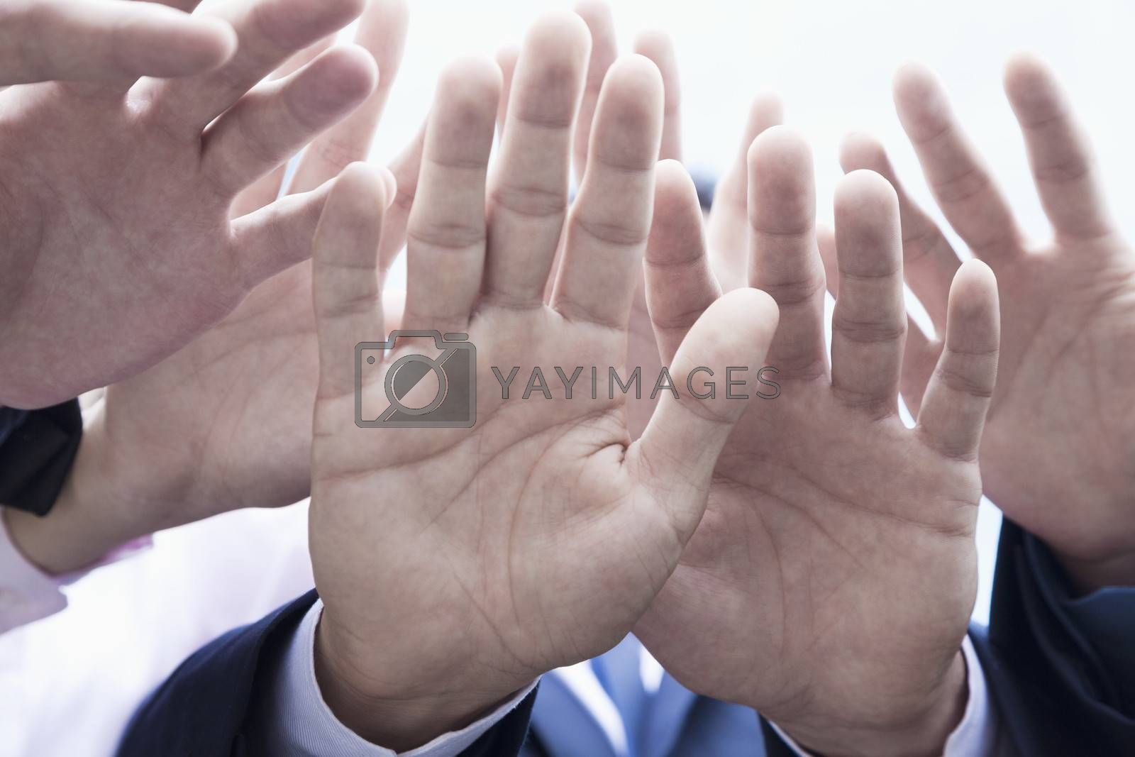 Close-up of four business people's hands by XiXinXing
