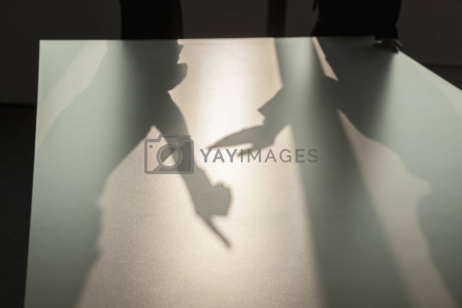 Shadow of two business people arguing and gesturing on the floor of the office