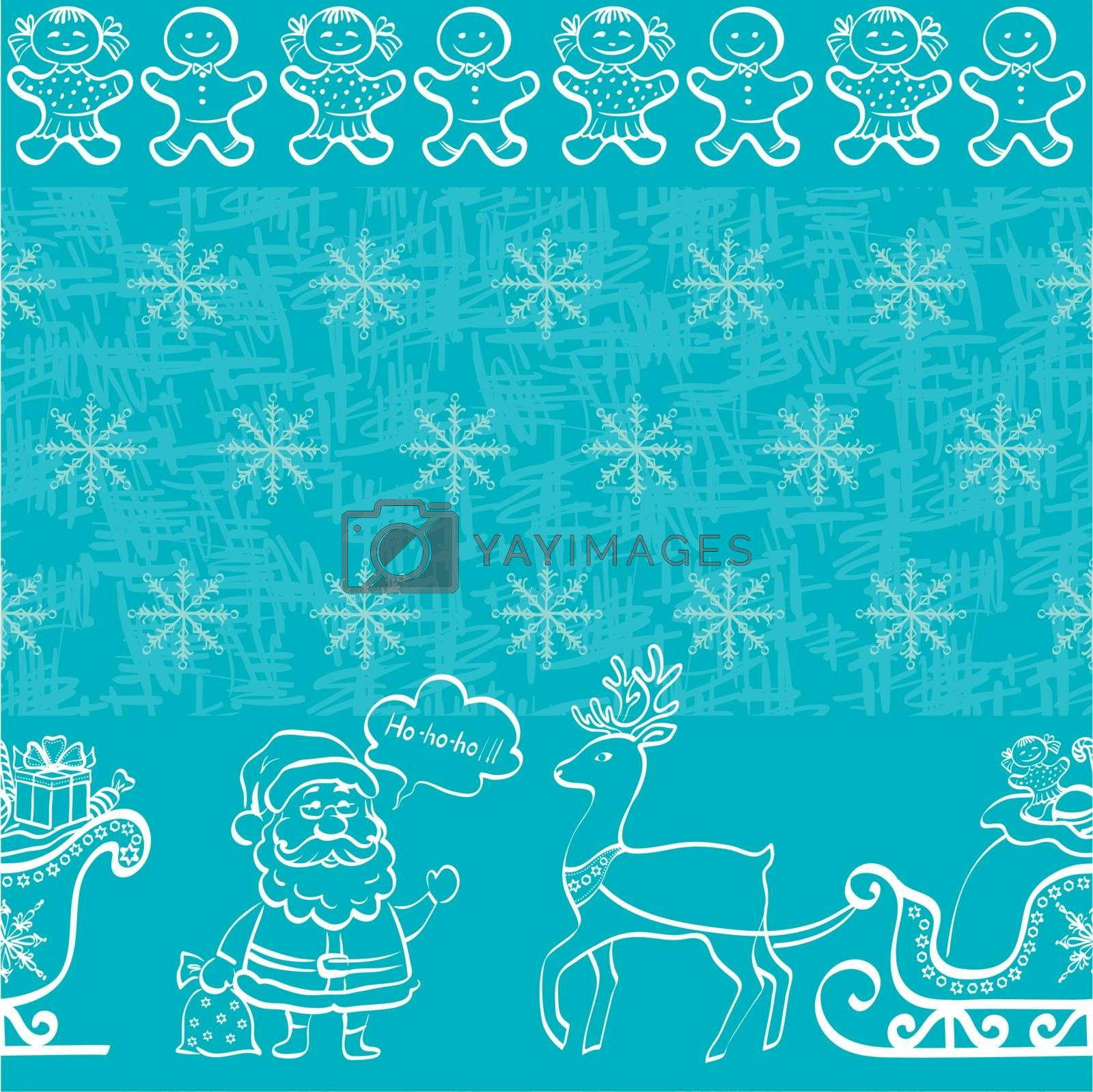 Christmas seamless pattern for holiday design, white contours on blue background. Vector