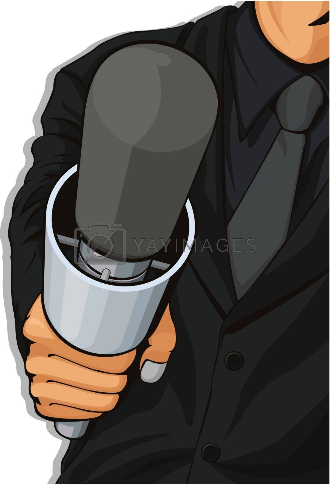 A vector image of a host holding a microphone. Available as a Vector in EPS8 format that can be scaled to any size without loss of quality. The graphics elements are all can be moved or edited individually.