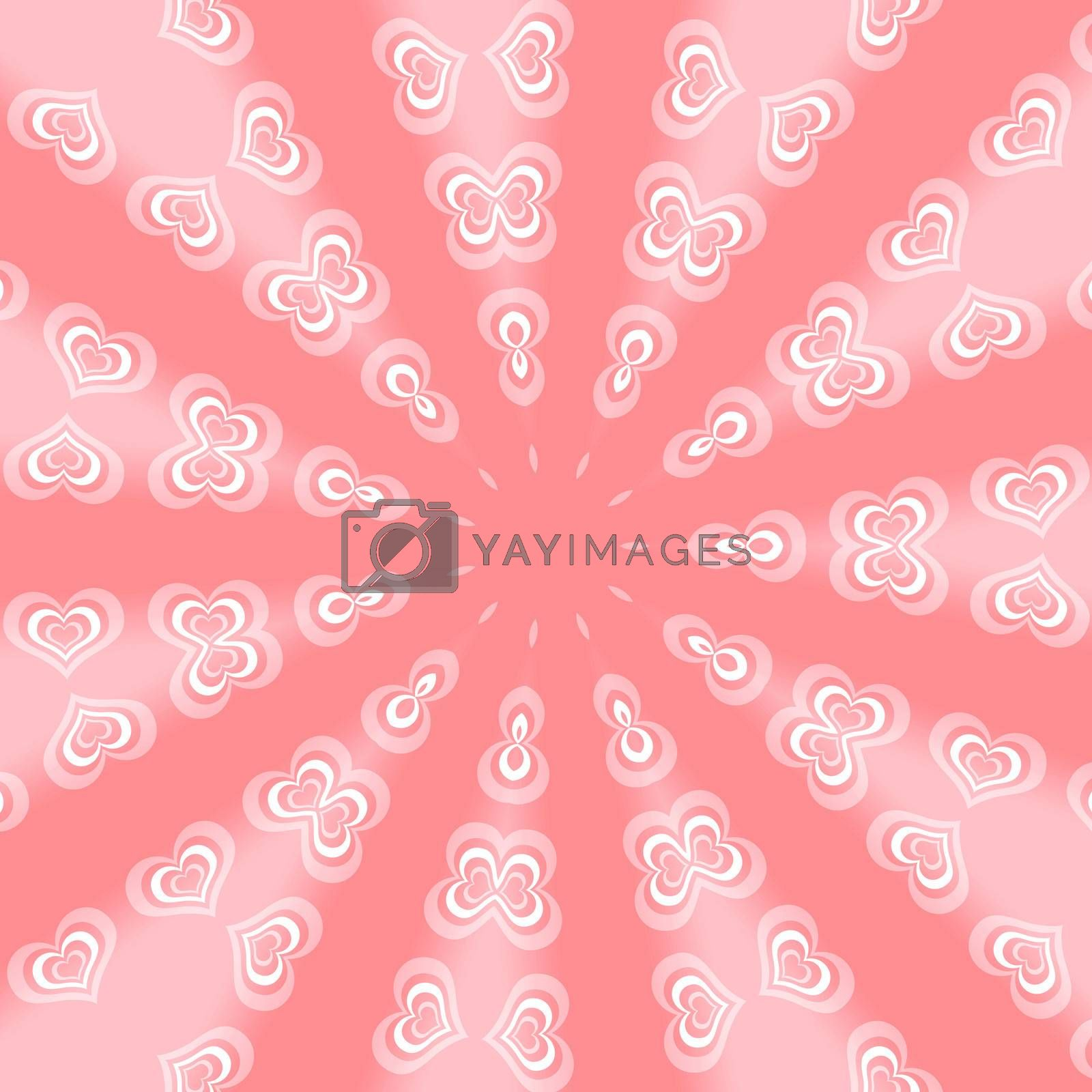 Pink background with abstract hearts