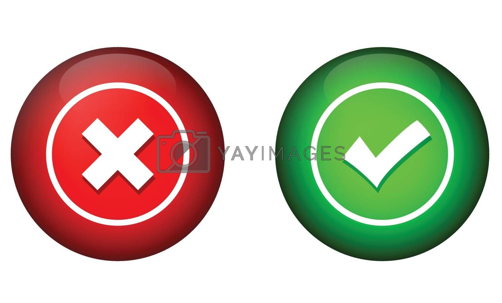 Tick mark and cross buttons