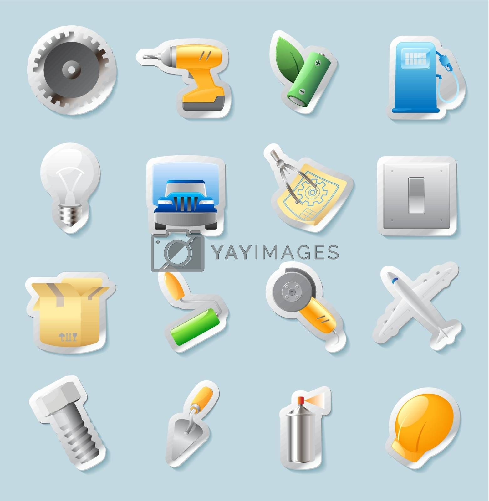 Sticker button set. Icons for industry, construction and energy. Vector illustration.