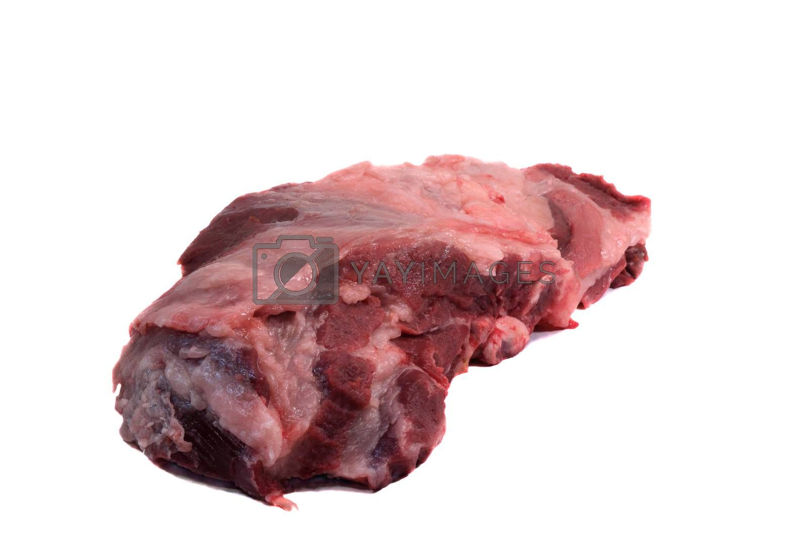 Fresh raw pork meat. Presented on a white background.