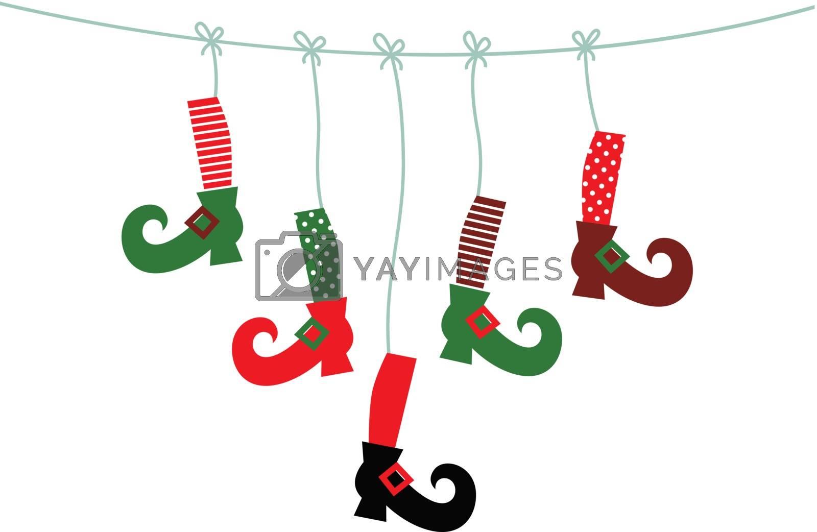 Cute colorful Santa legs handing. Vector Illustration