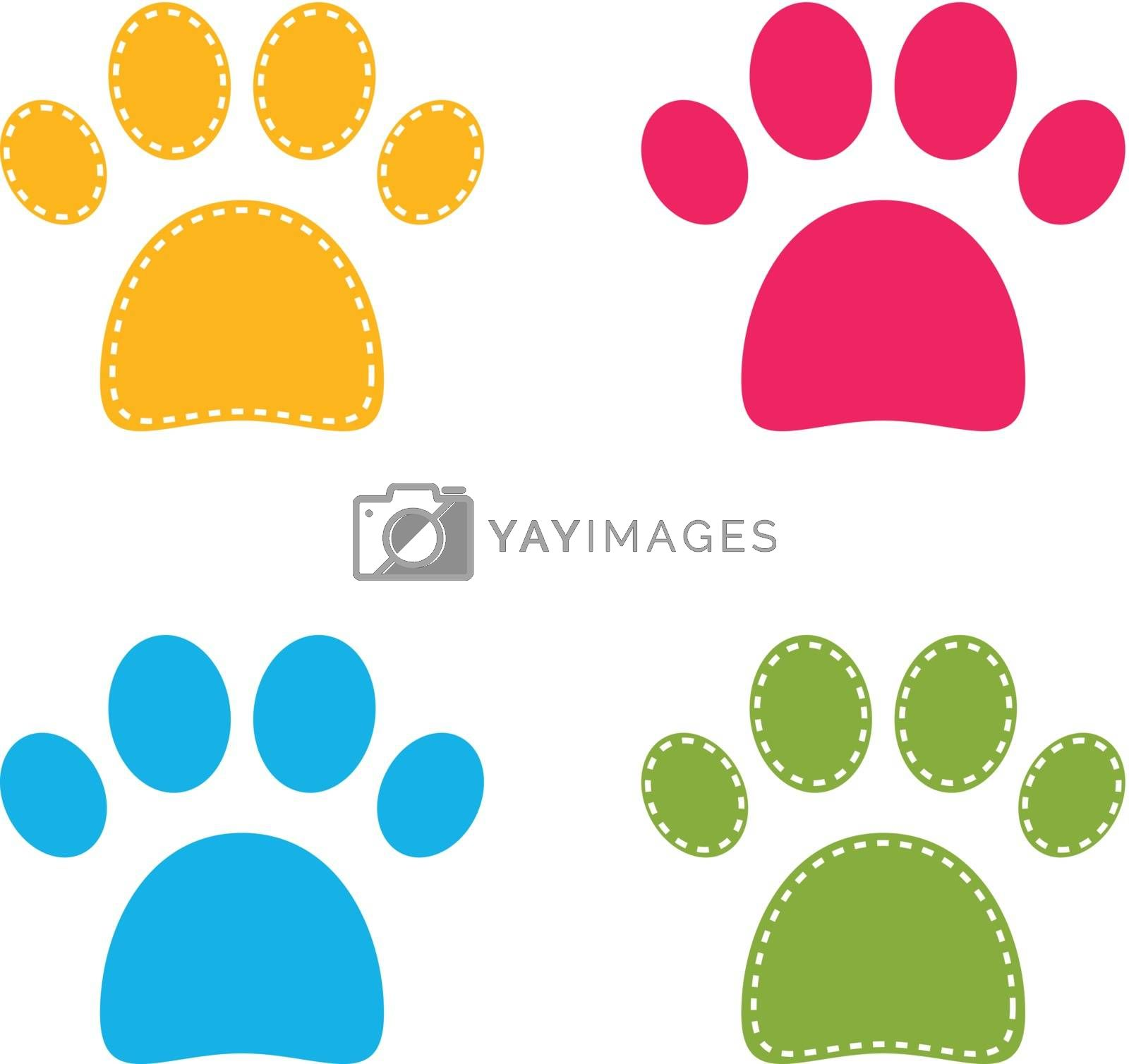 Cute colorful Doggie Paws isolated on white by Lordalea