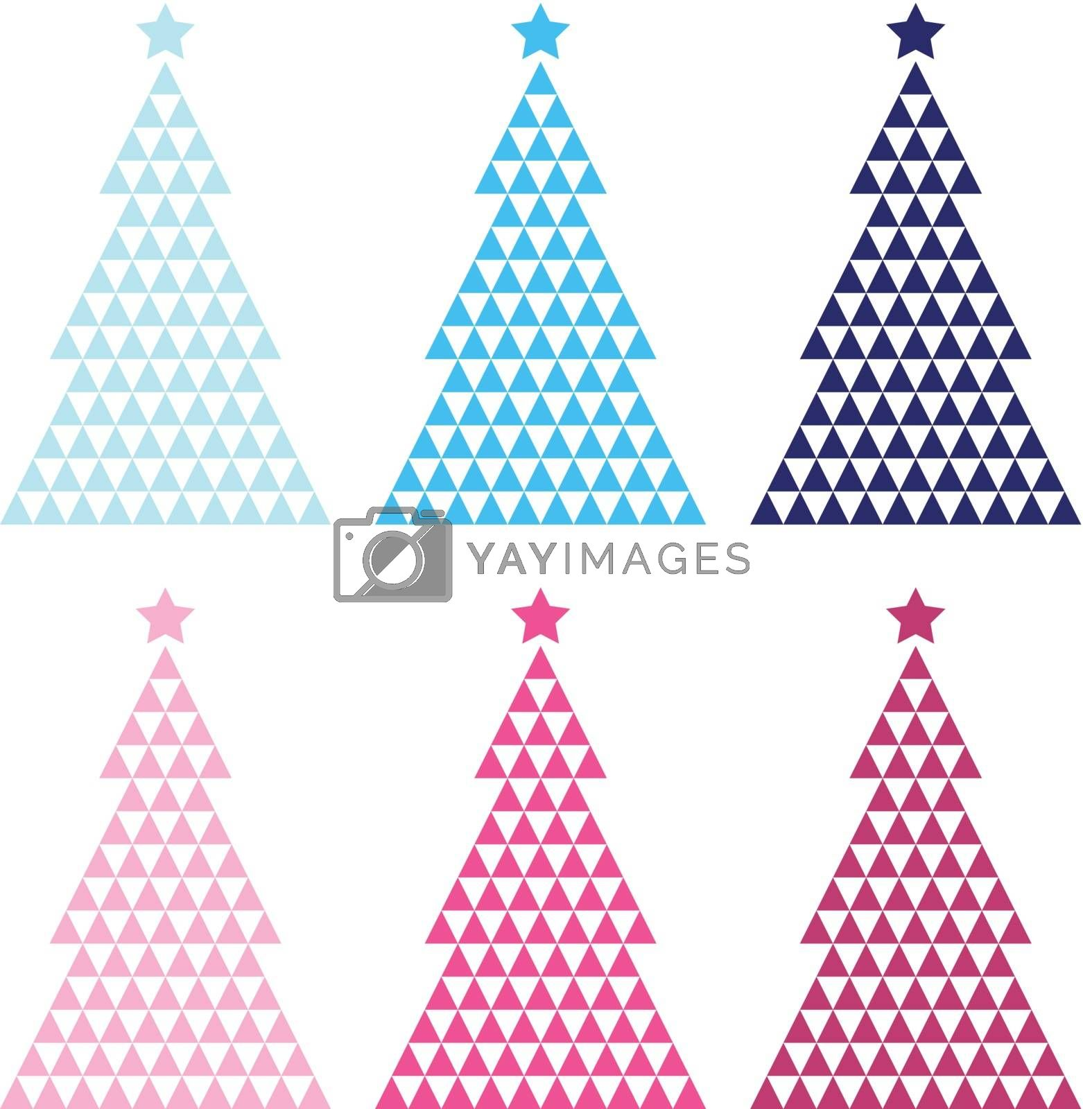 Royalty free image of Colorful Mosaic Xmas tree set isolated on white by Lordalea
