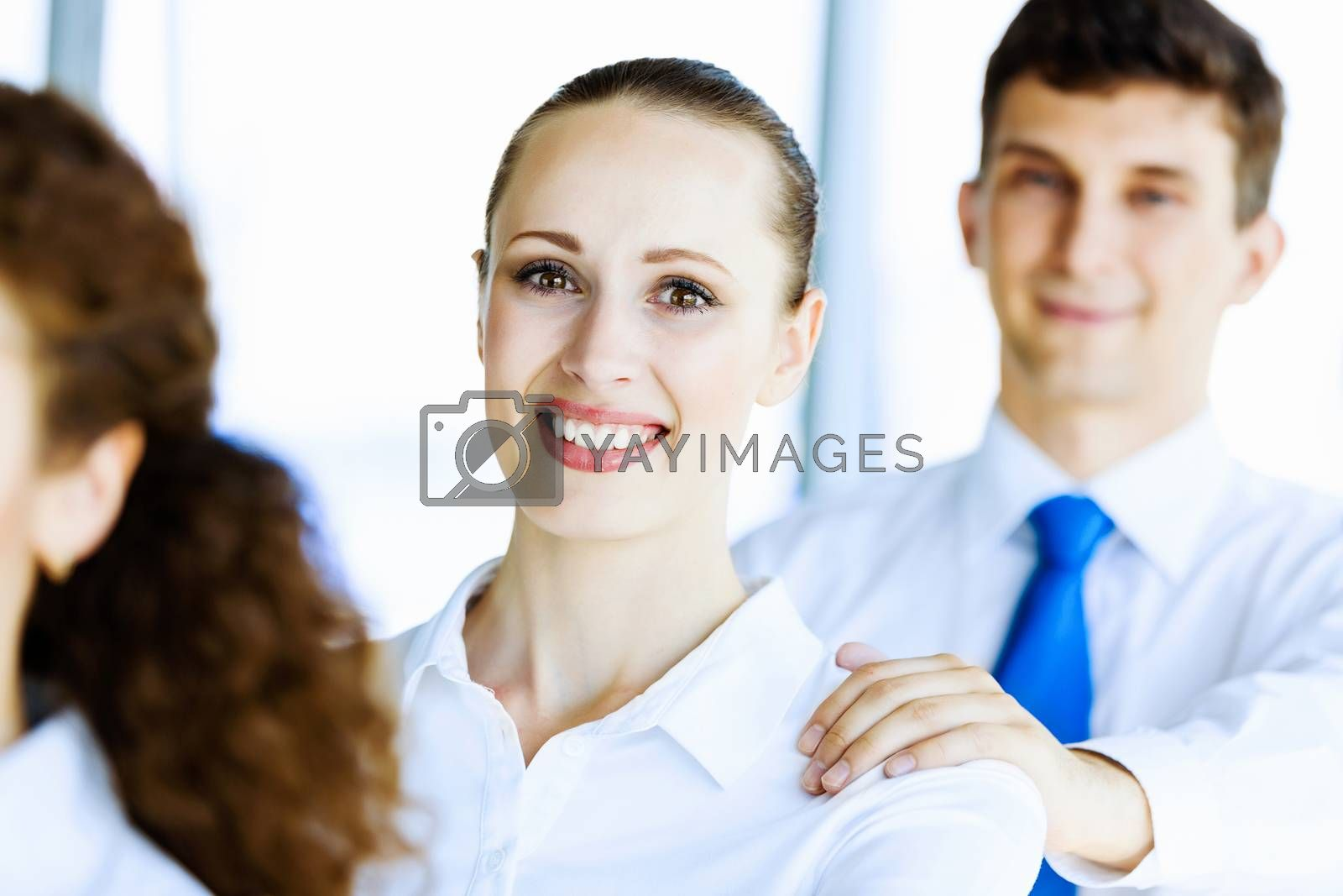 Image of business people standing in line. Team work concept