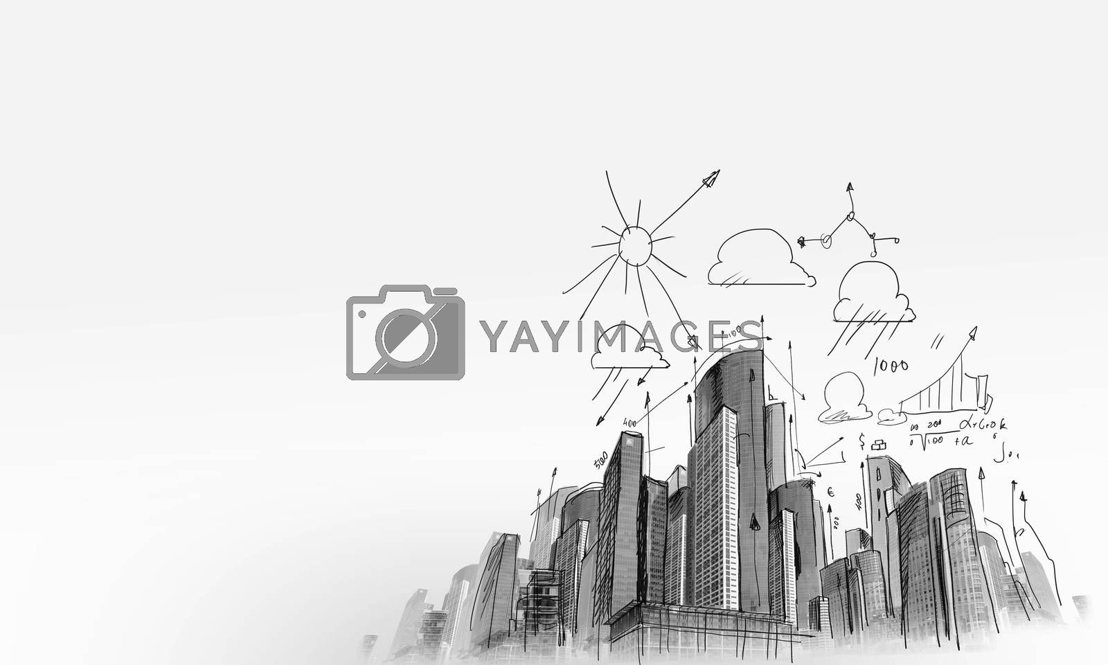 Background sketch image with building plan and strategy