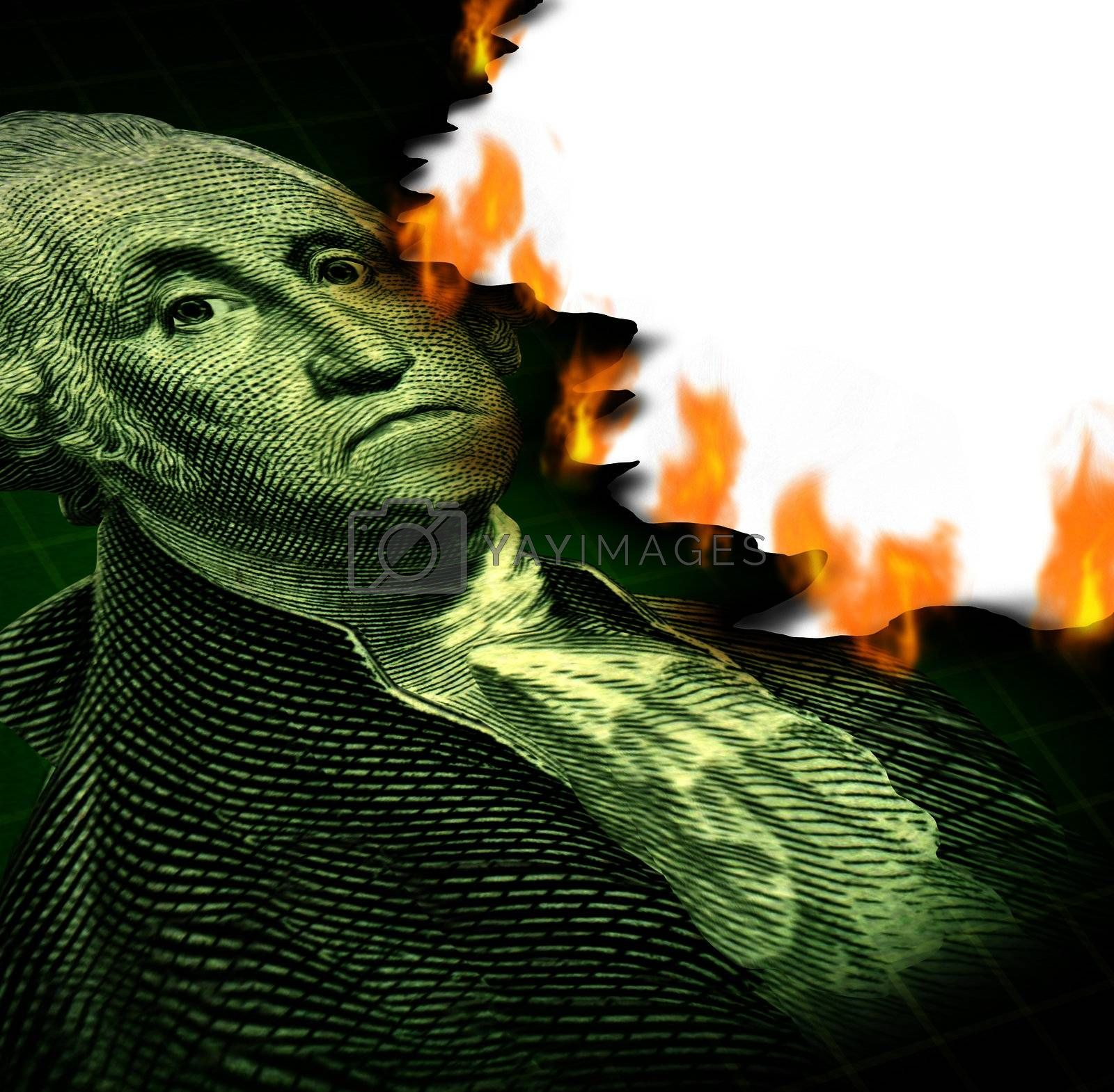 Losing your investment and financial debt crisis concept with a paper currency icon of George Washington and flames burning the paper as a symbol of declining wealth and finance despair.