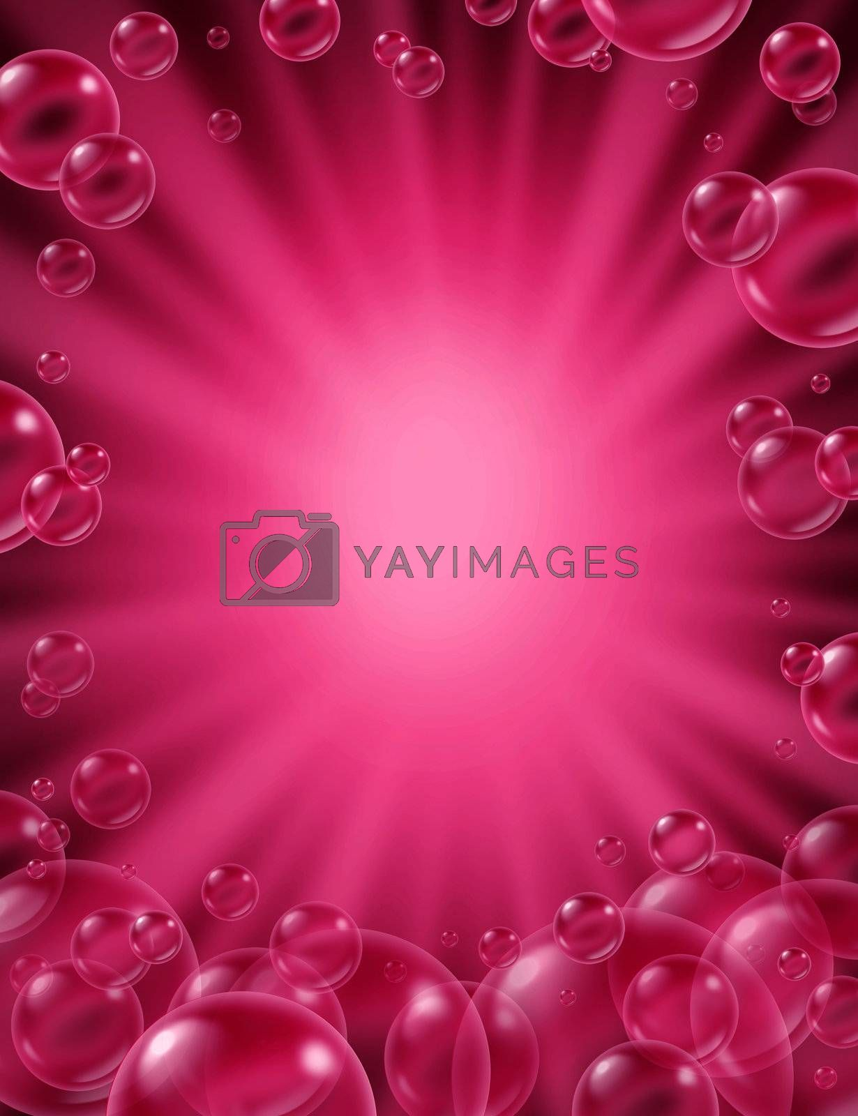 Pink bubbles background with a star burst frame and transparent bath soap suds bubbling with blank area for text with pretty delicate foam in many sizes as clean beauty symbols of washing and freshness.