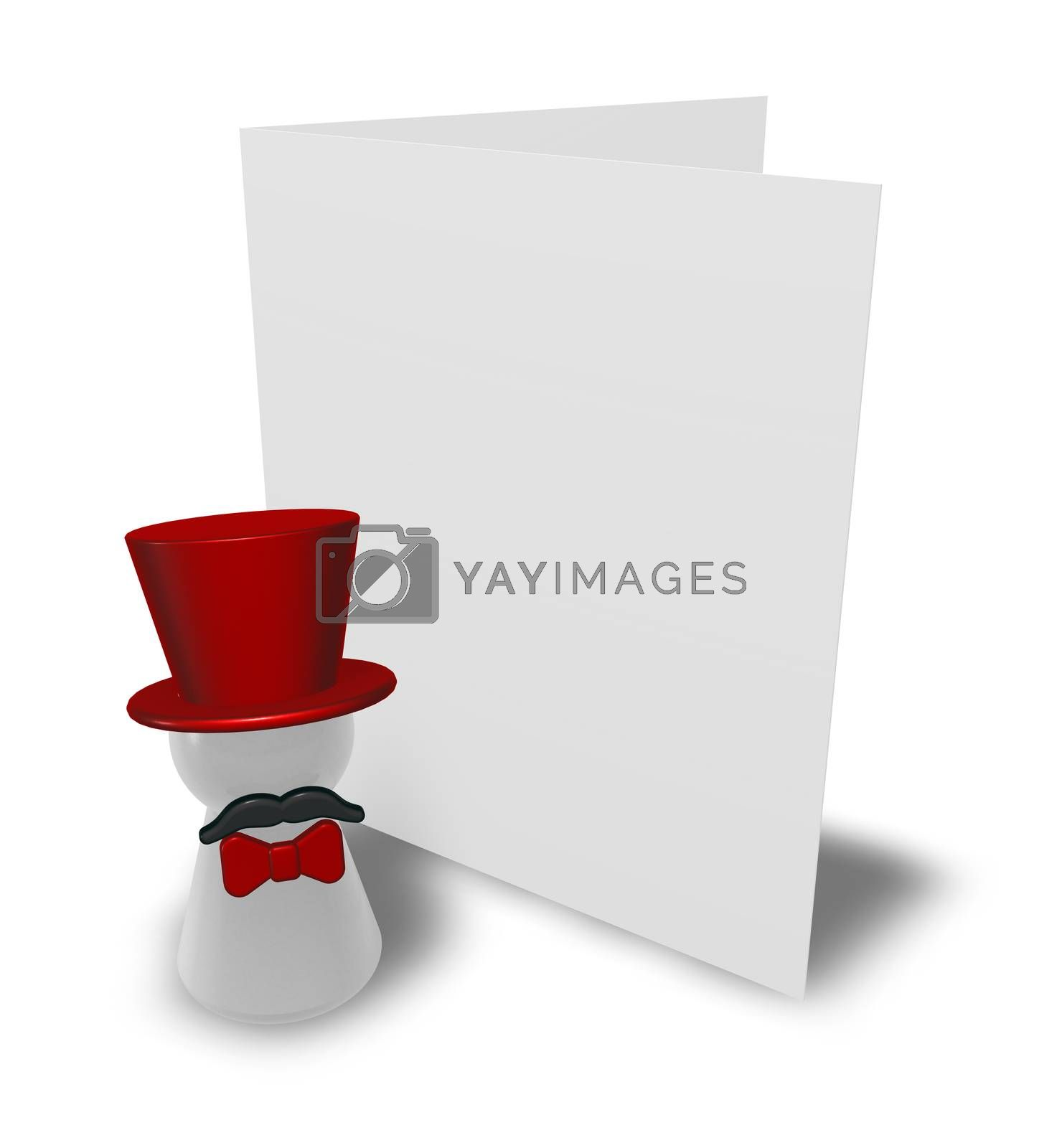 ringmaster and congratulation card - 3d illustration