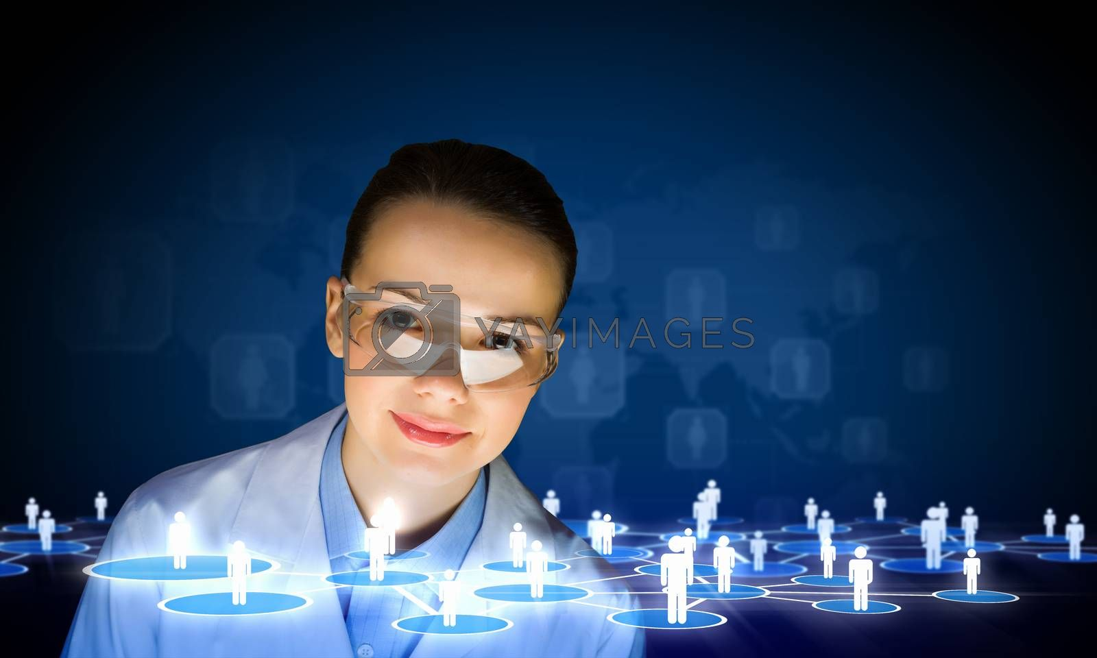 Image of young woman scientist in goggles against media screen. Net communication