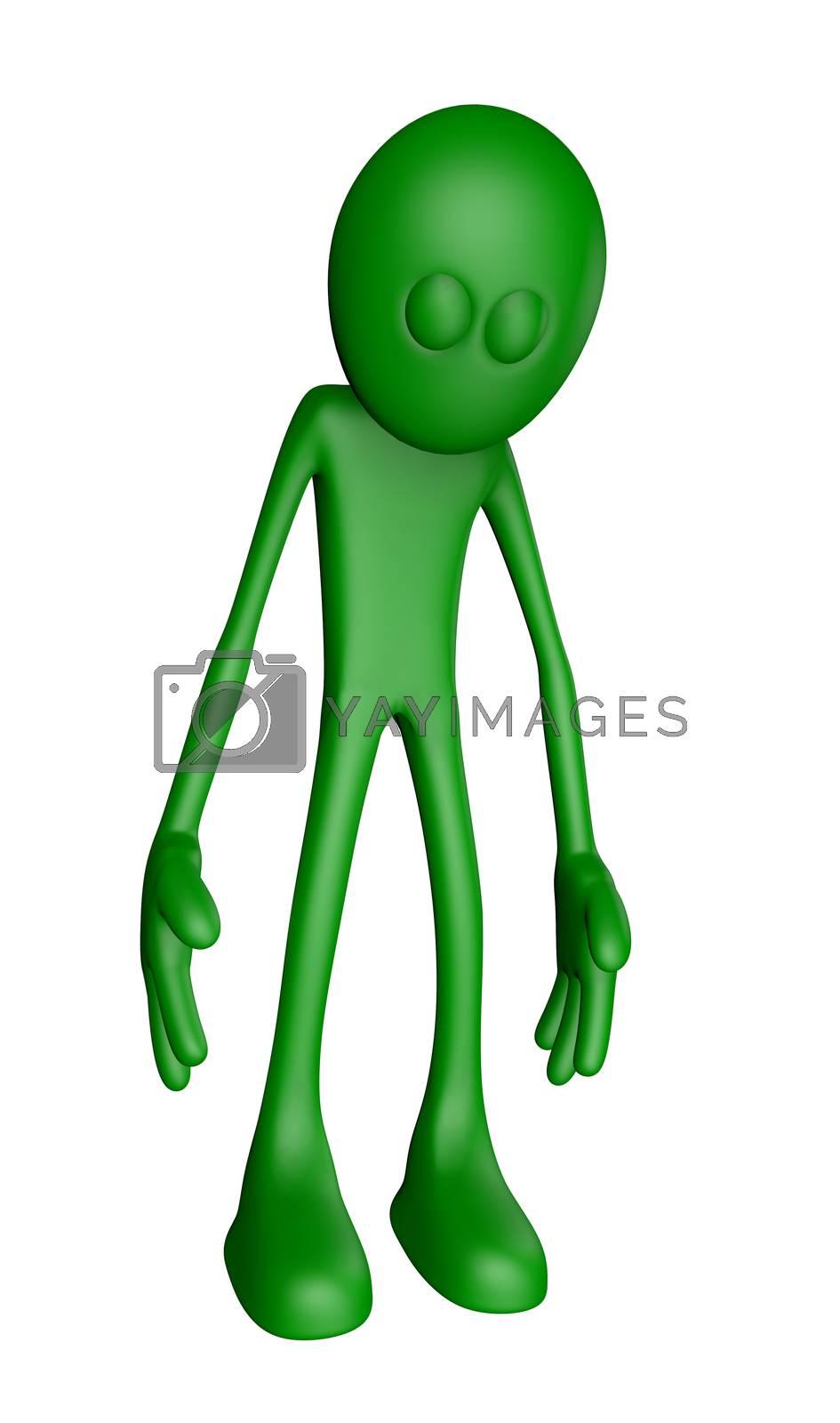 sad green guy - 3d illustration