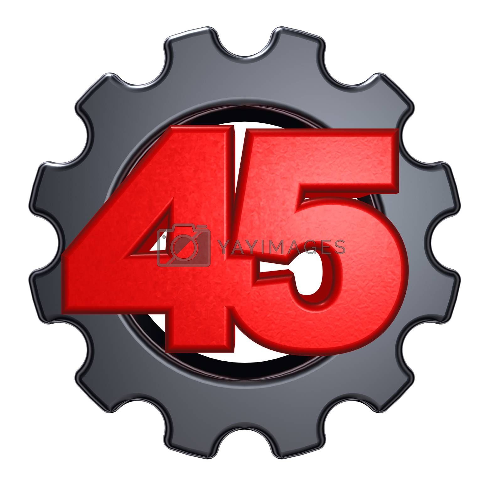 number forty-five and gear wheel on white background - 3d illustration