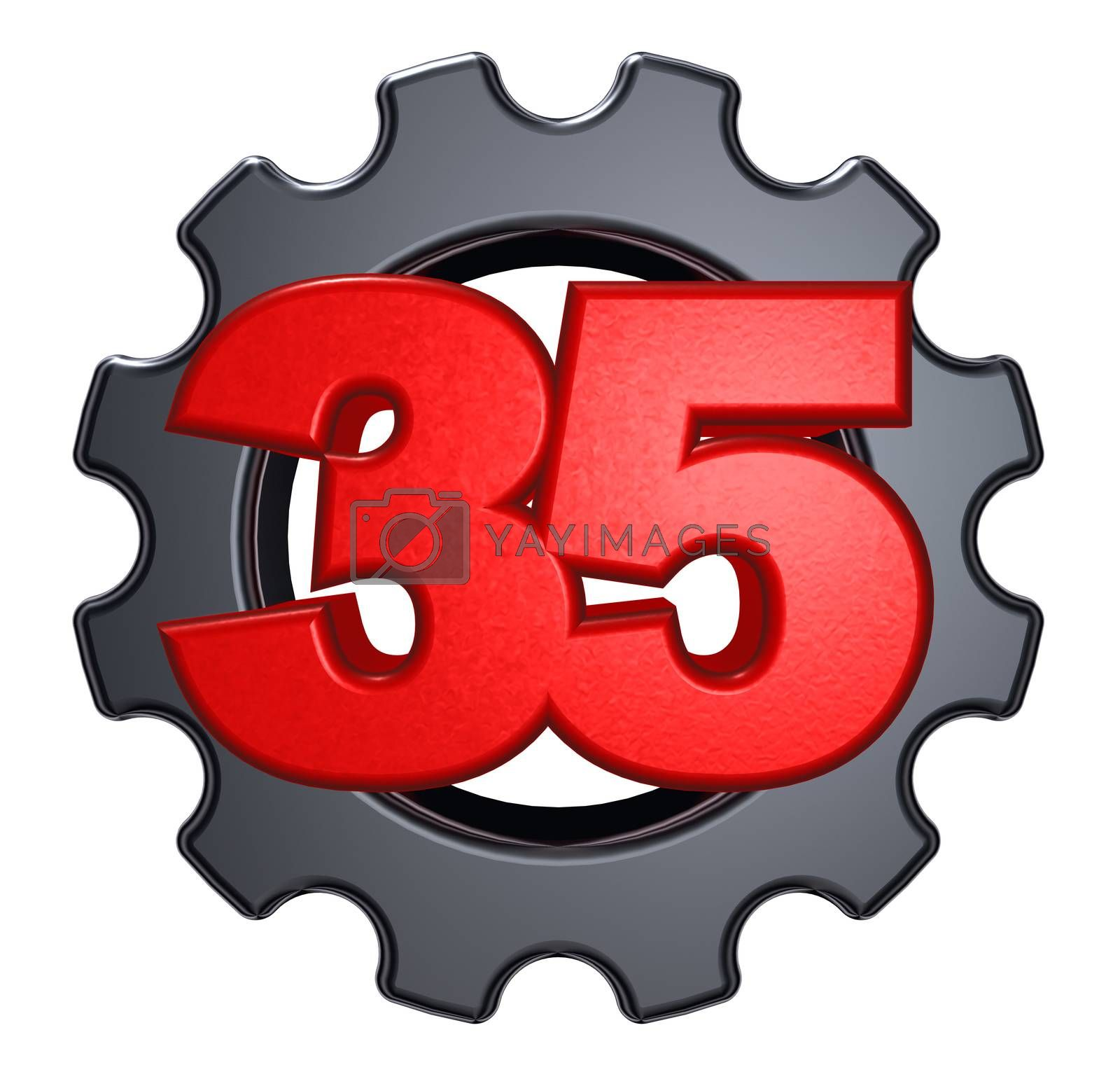 number thirty five and gear wheel on white background - 3d illustration