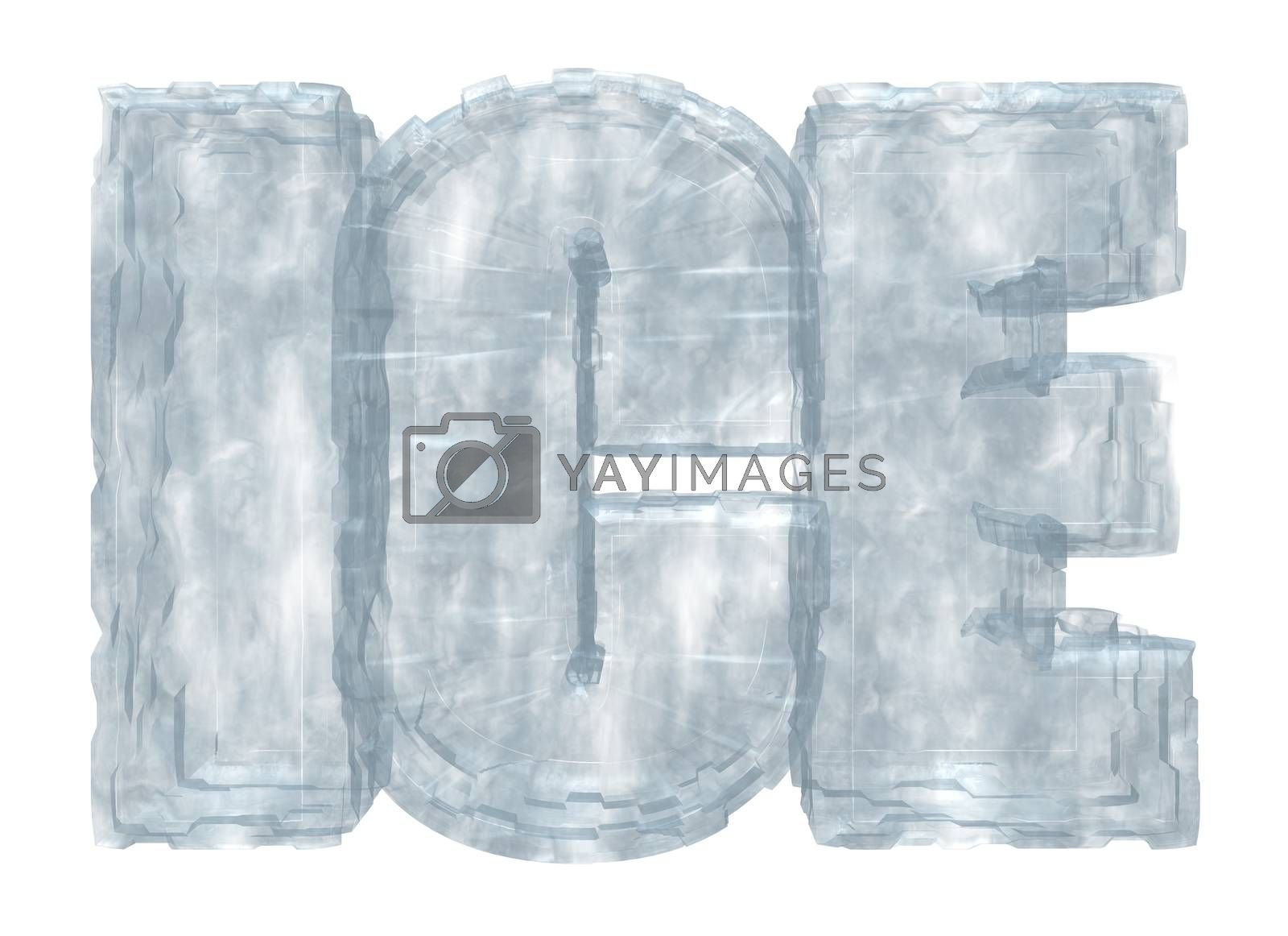 the word ice on white background - 3d illustration