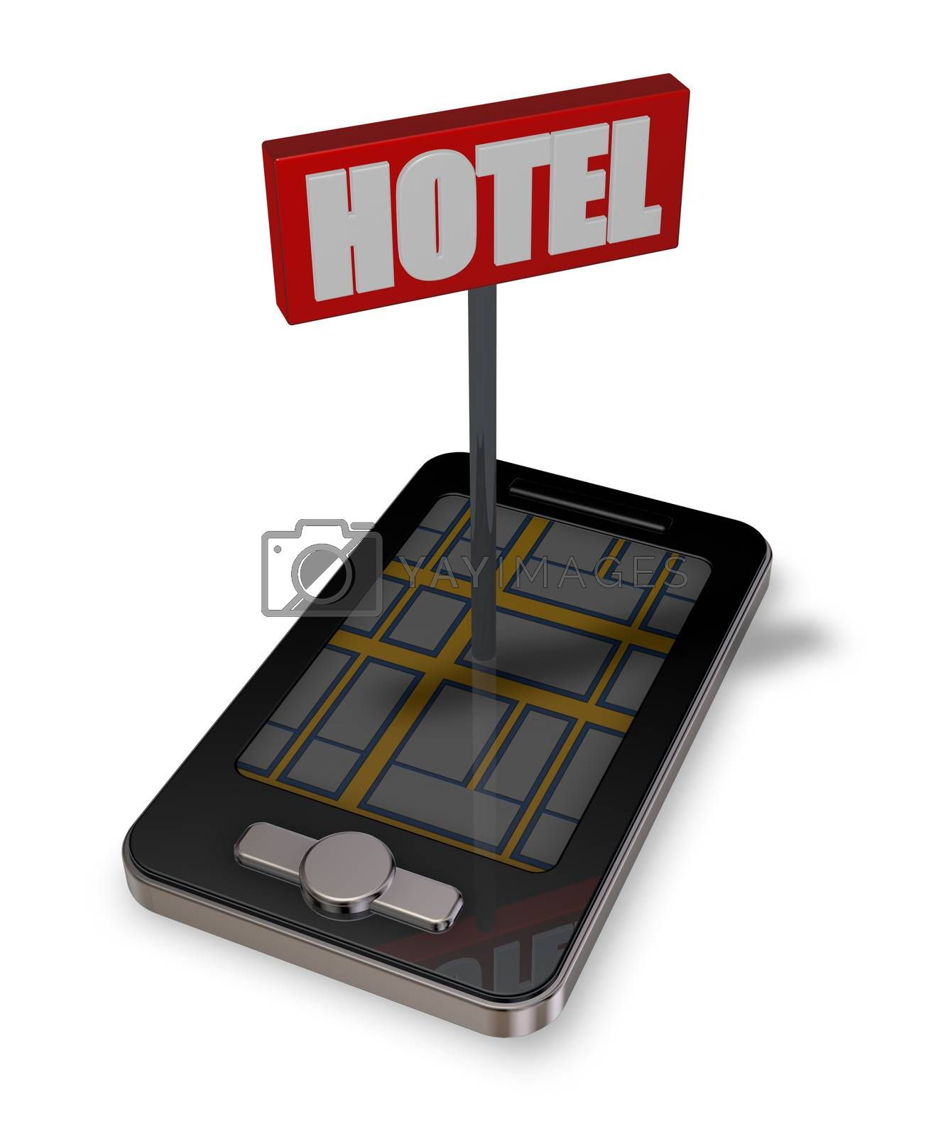 smartphone with hotel sign - 3d illustration