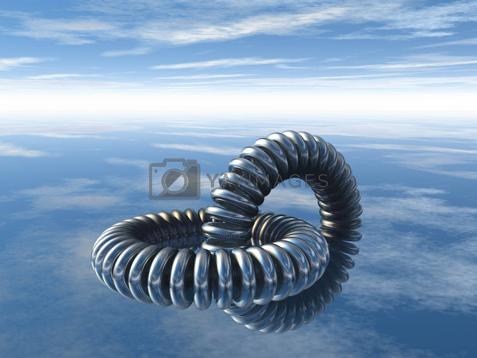 abstract metal rings construction under cloudy blue sky - 3d illustration