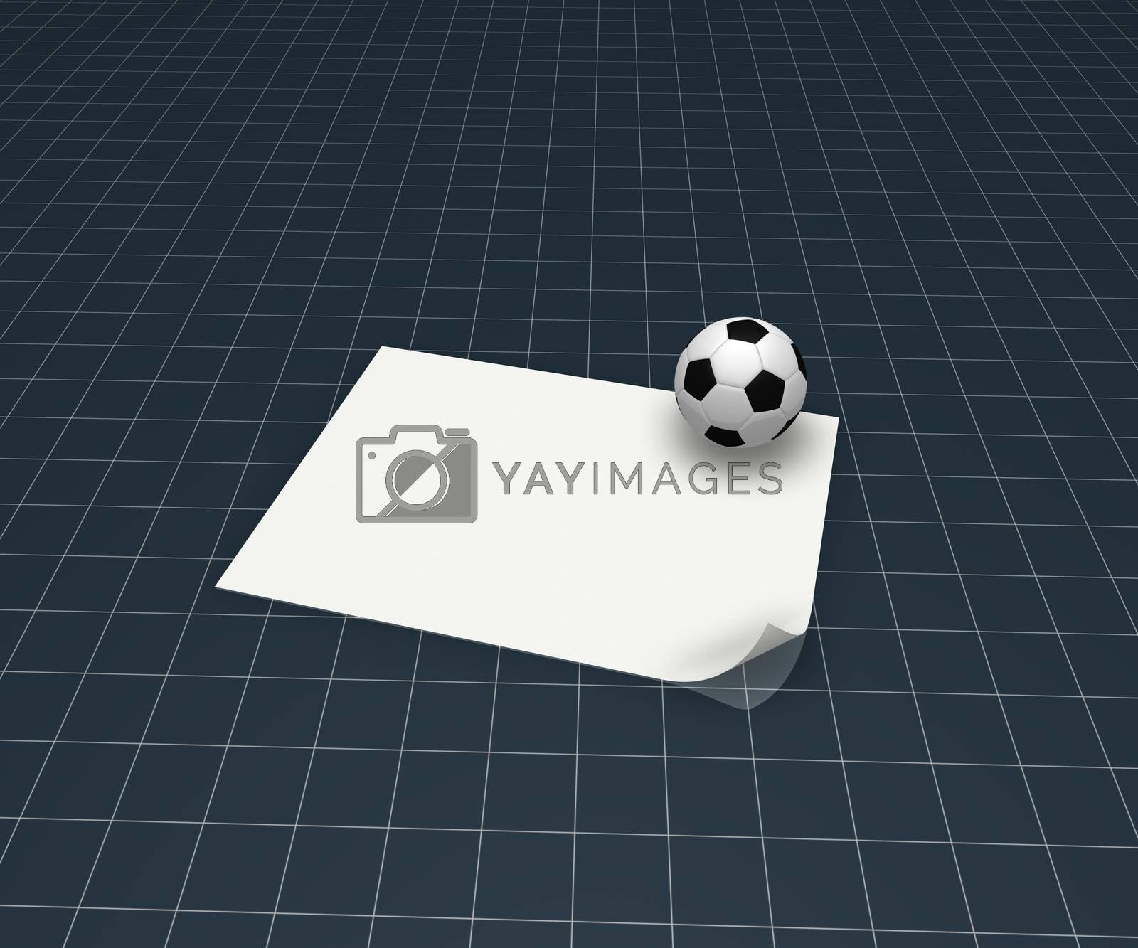 soccer ball and blank white paper sheet - 3d illustration