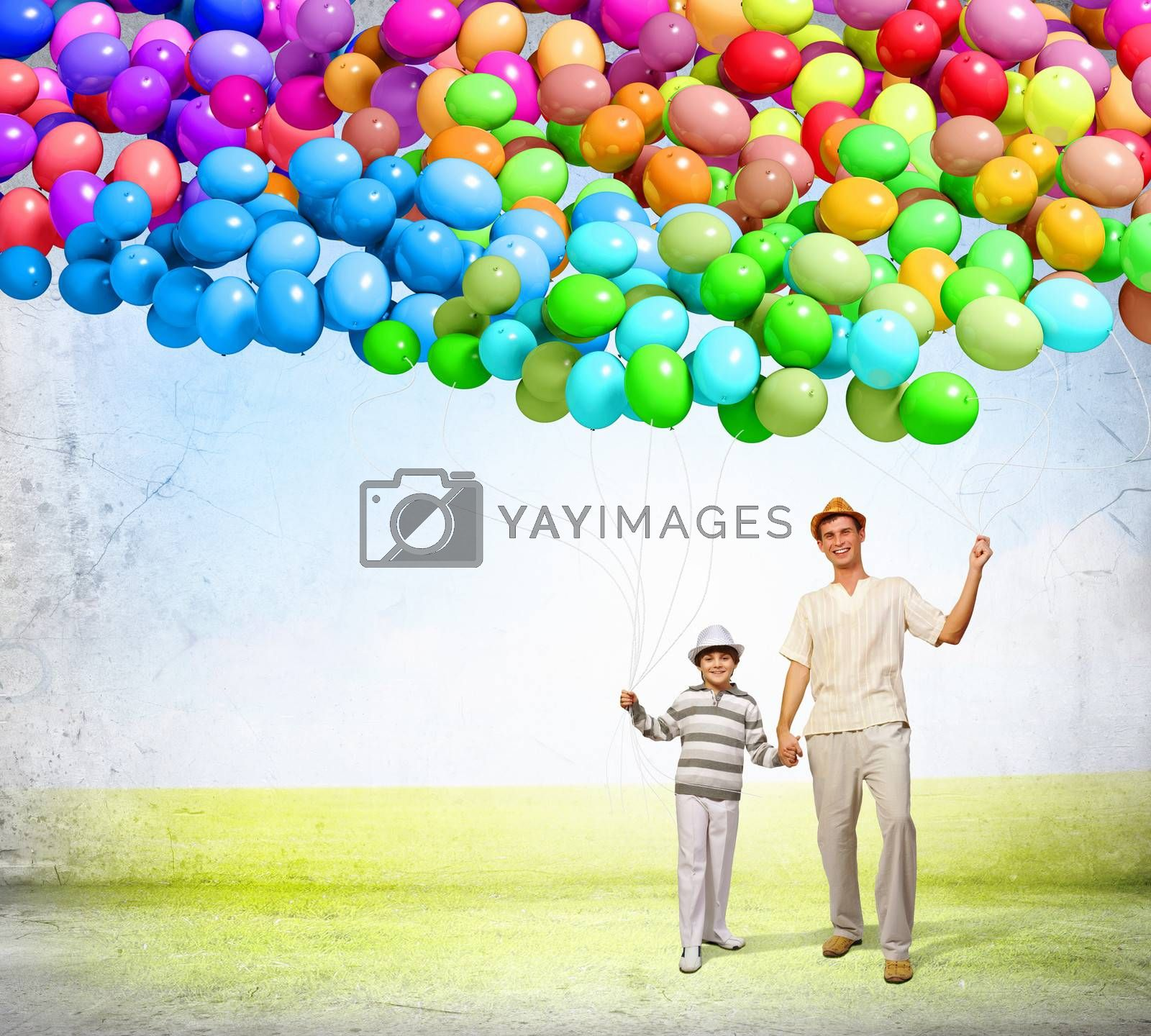 Image of happy father with his son