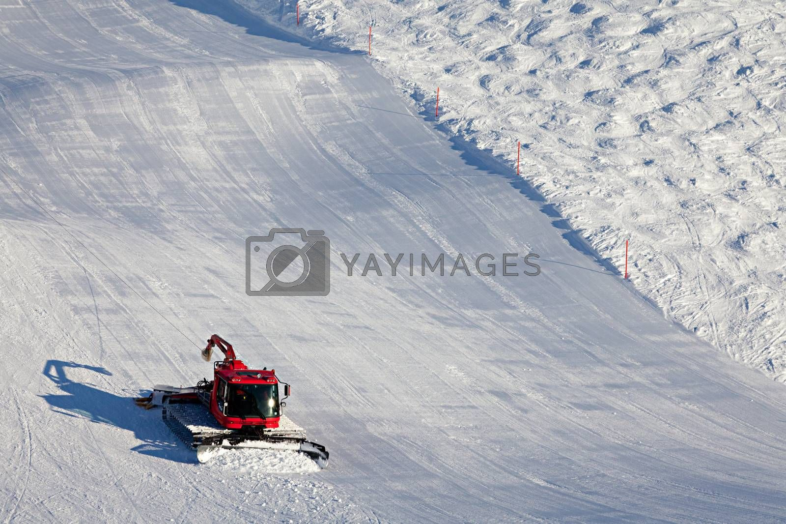 Ski slopes maintenance on the mountains in the Swiss Alps.