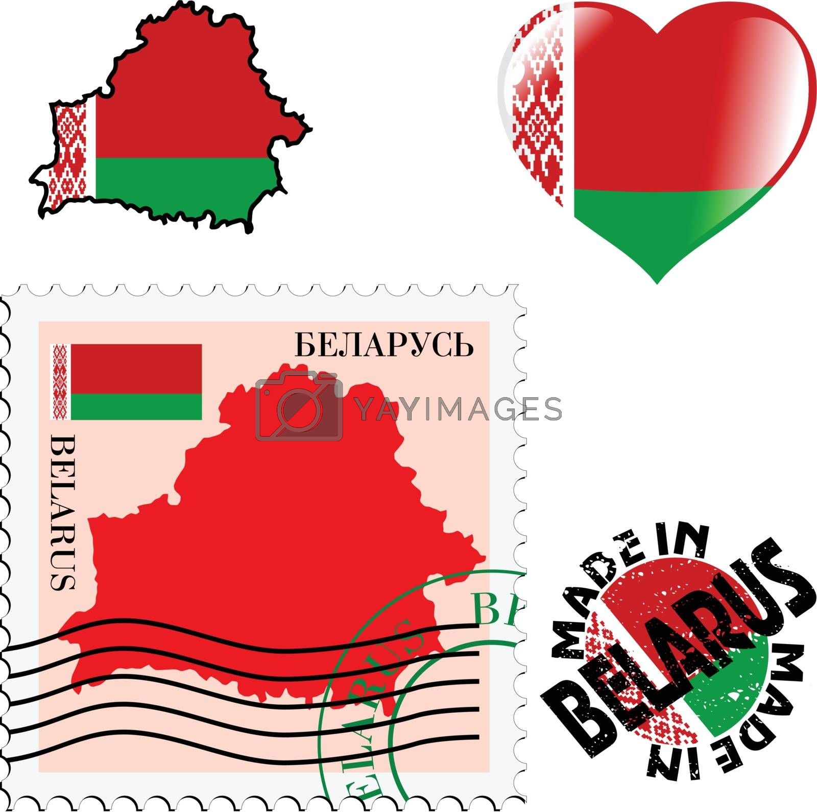 set of different symbols in national colours of Belarus