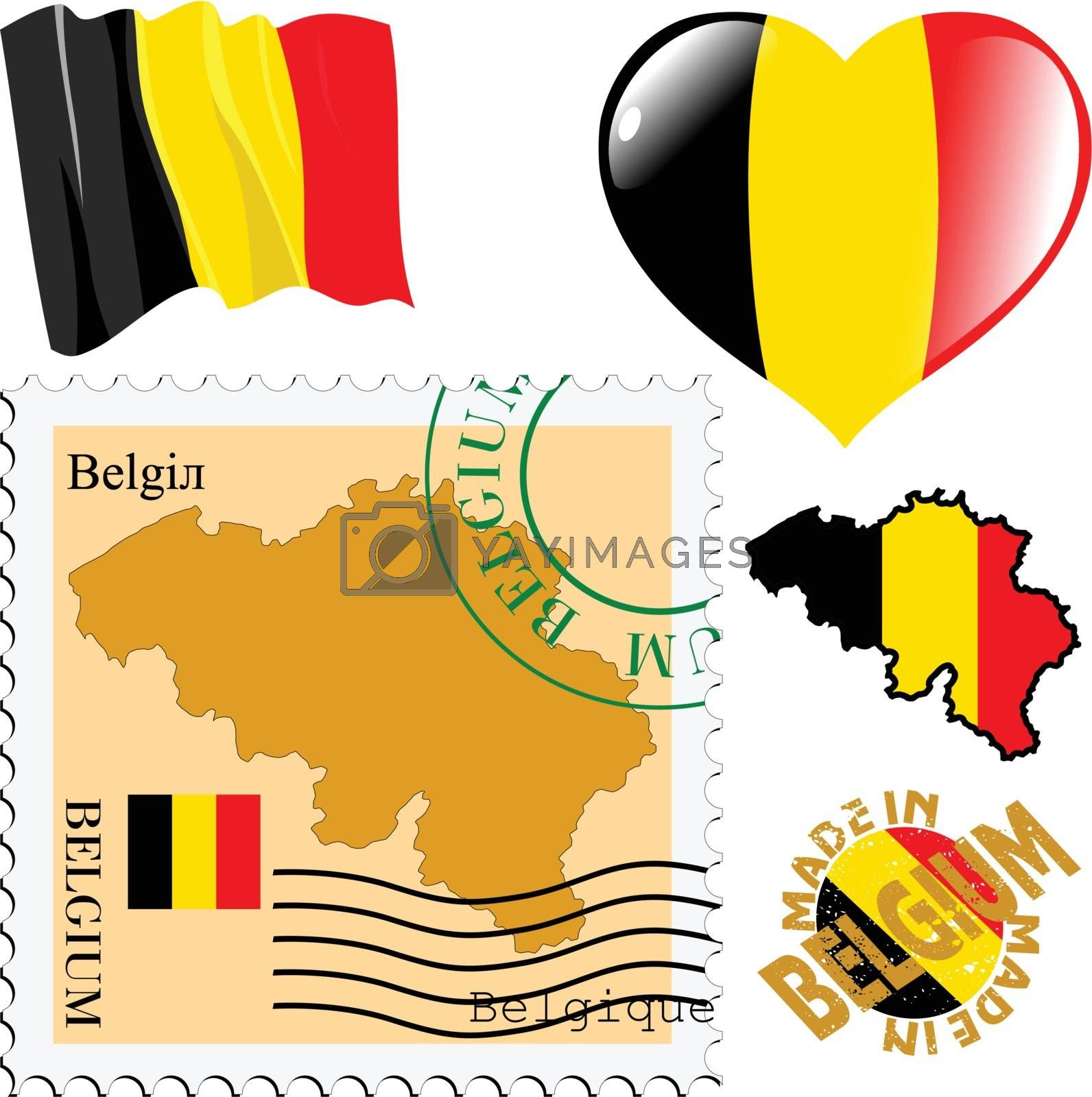 set of different symbols in national colours of Belgium