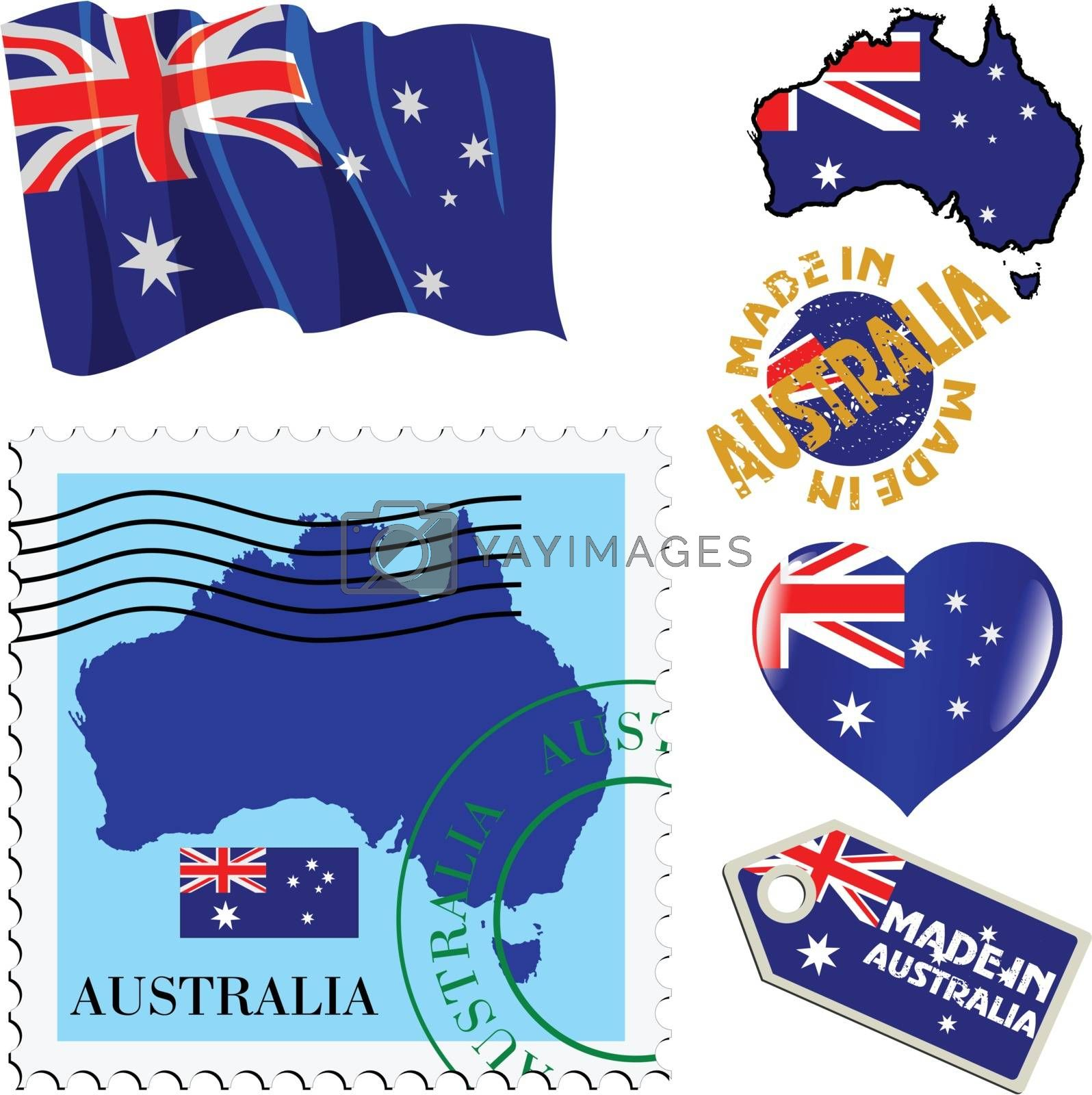 set of different simbols in national colours of Australia