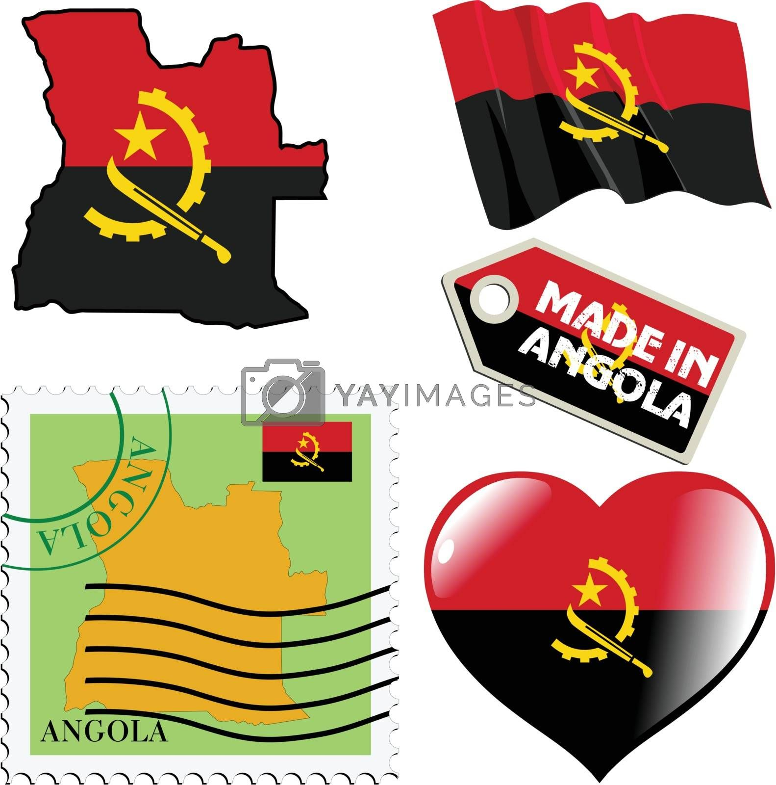 set of different simbols in national colours of Angola