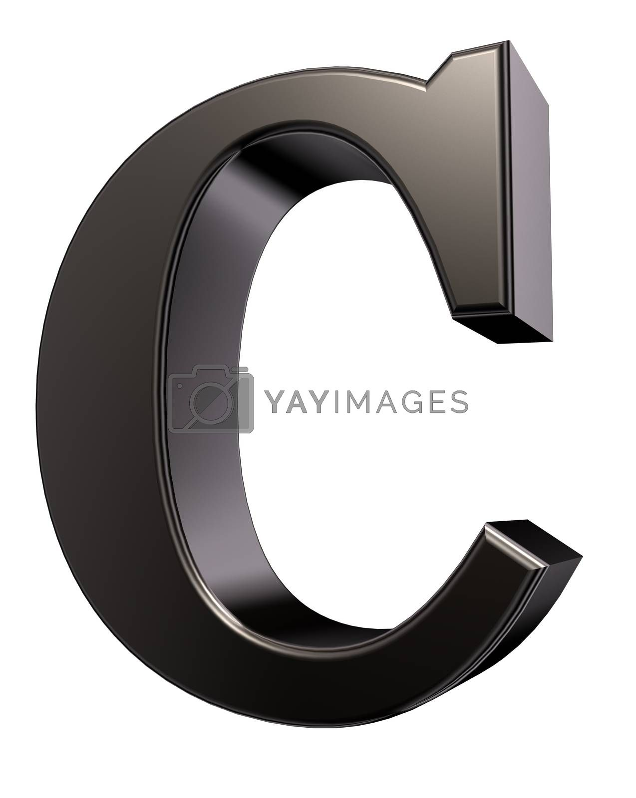 metal letter c on white background - 3d illustration