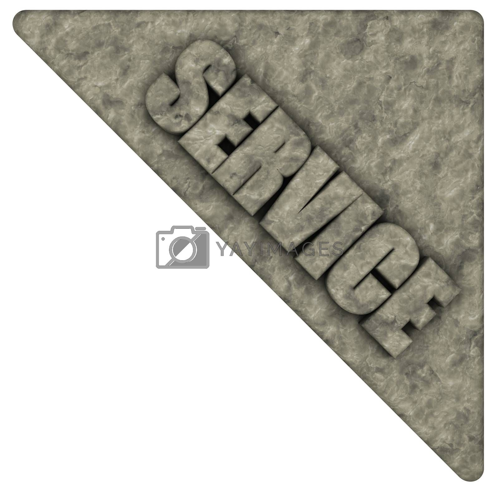 the word service on stone corner - 3d illustration
