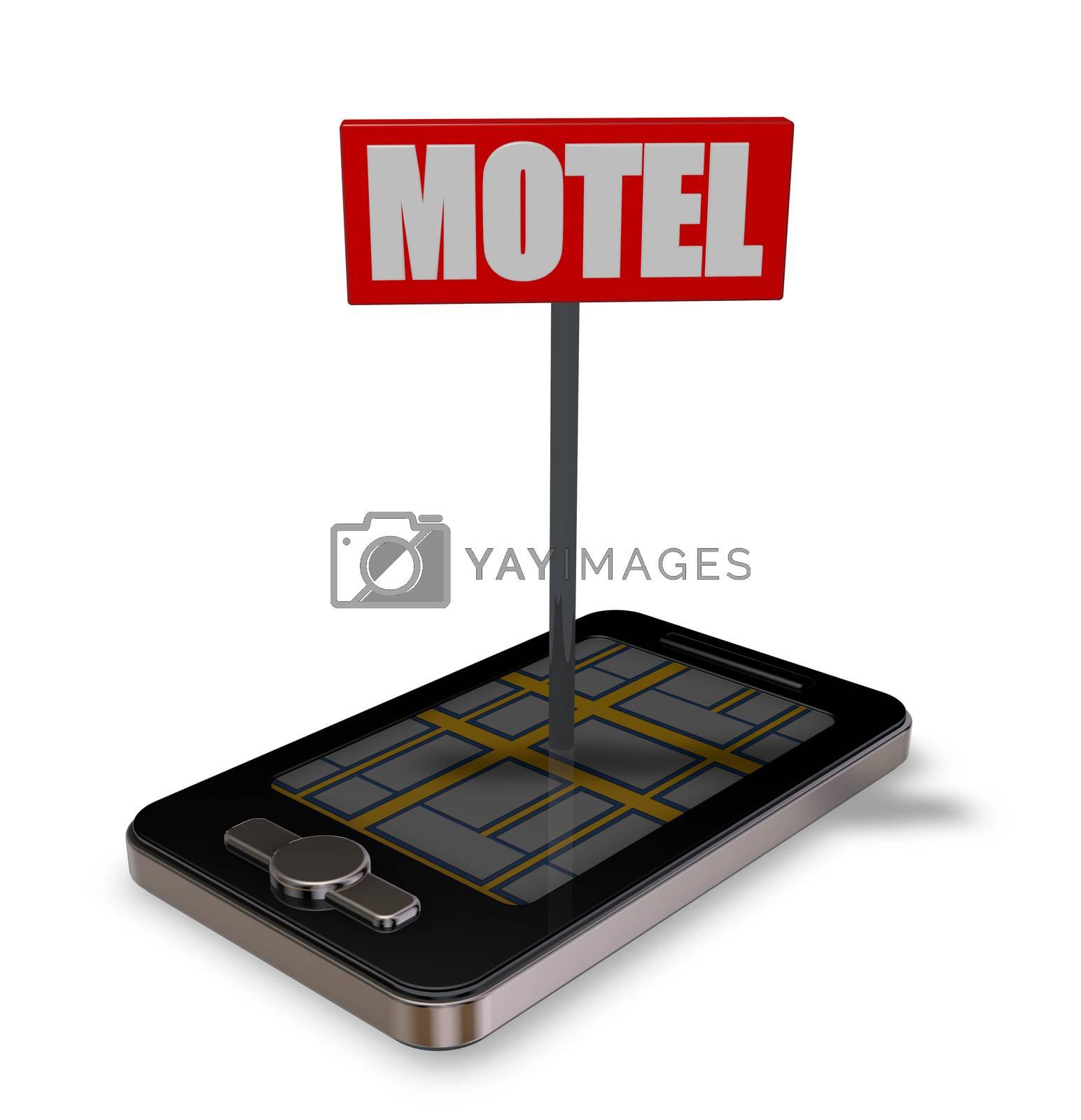 smartphone with motel sign - 3d illustration