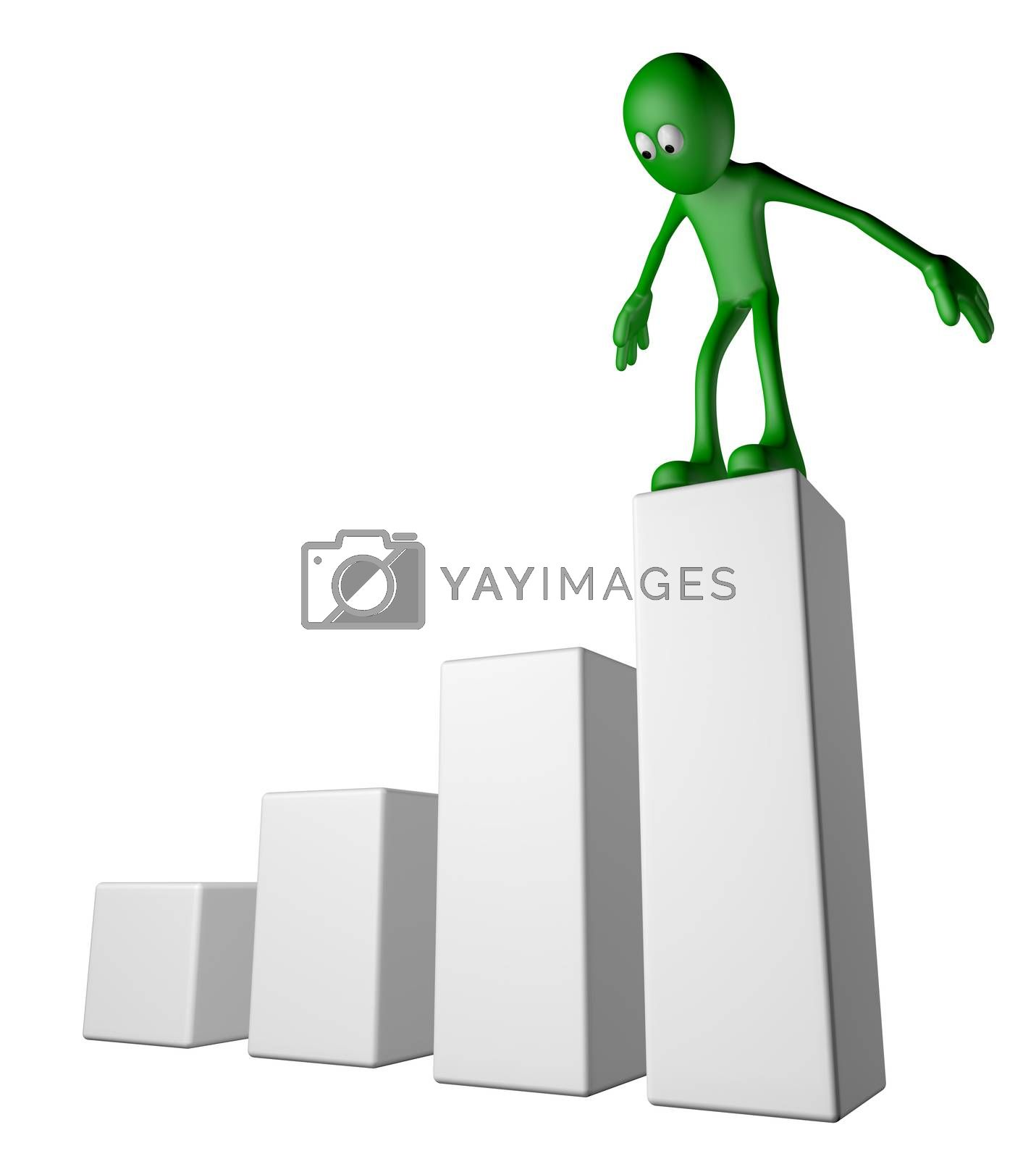 green guy on business graph - 3d illustration
