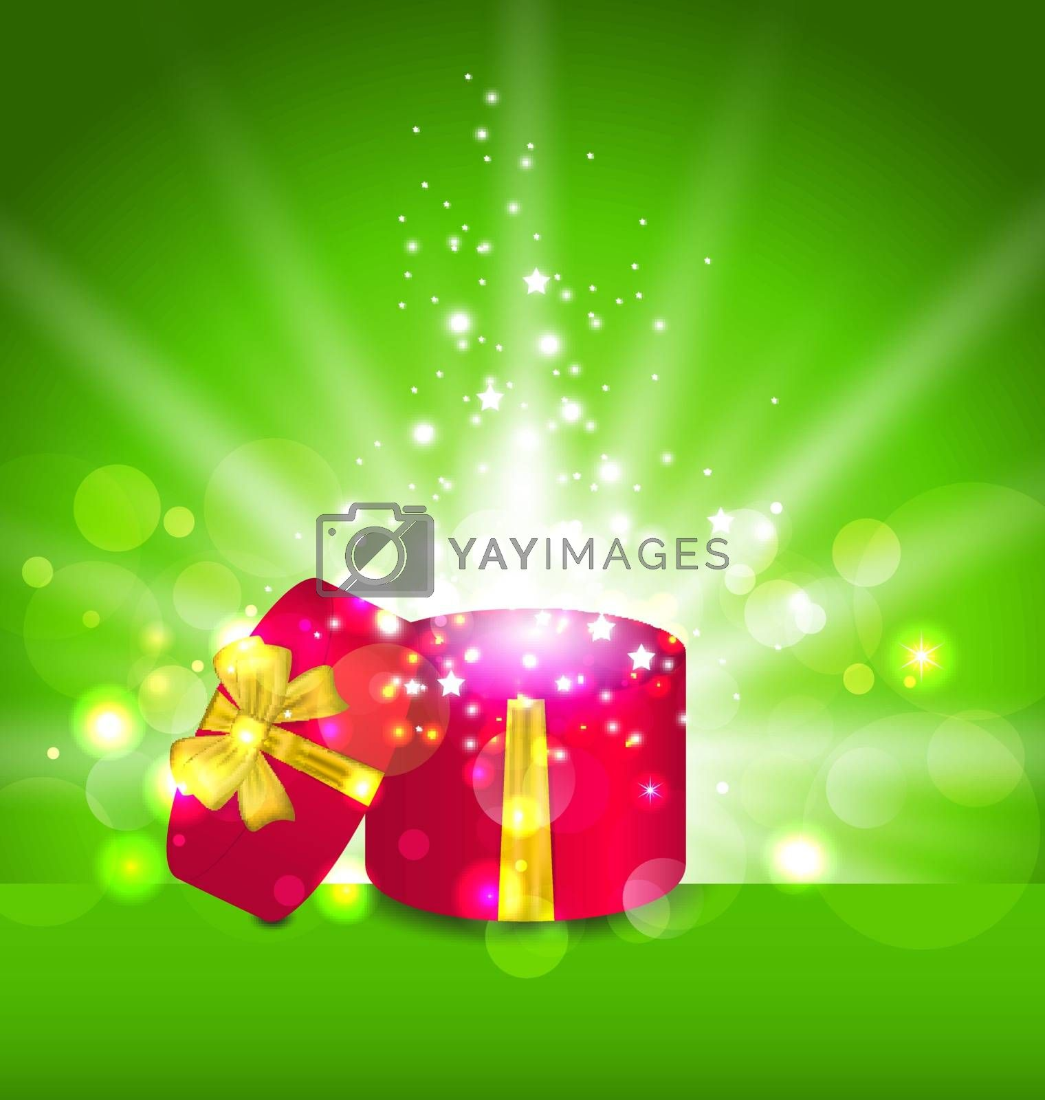 Illustration Christmas background with open round gift box - vector