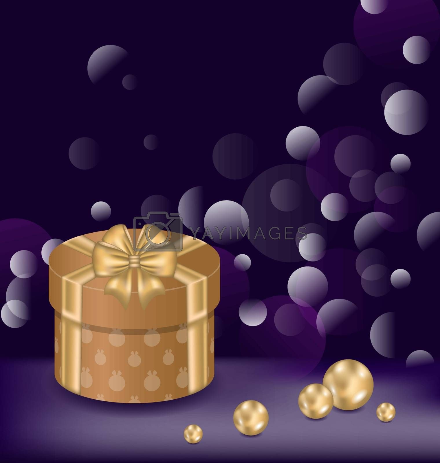 Illustration Christmas background with gift box and pearls - vector
