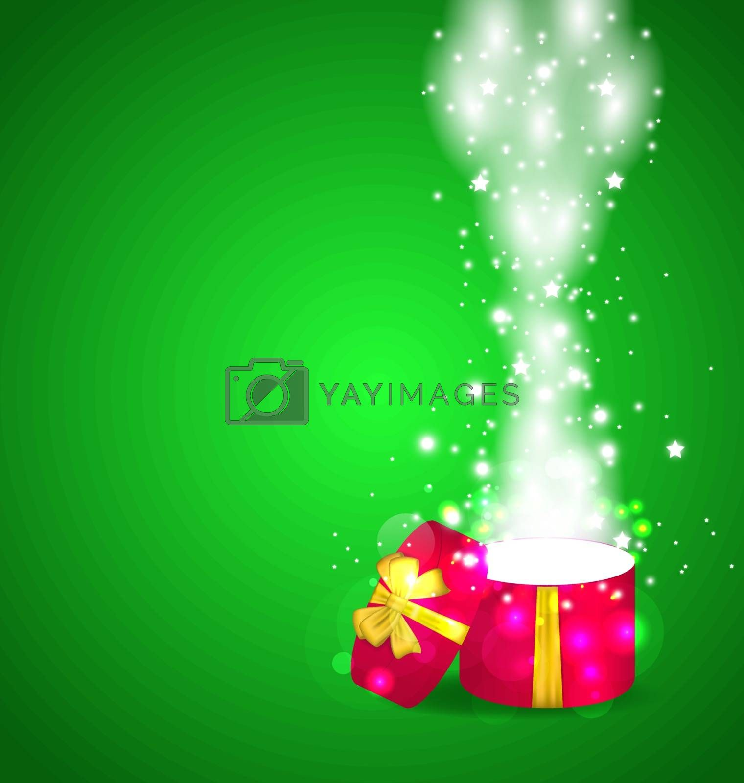 Illustration Christmas open magic gift box with copy space - vector