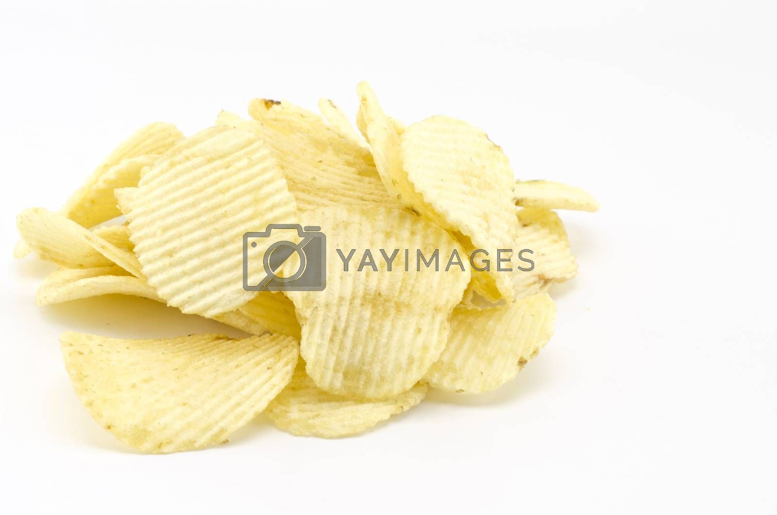 snack potato chips isolated on white  by Nisakorn Neera