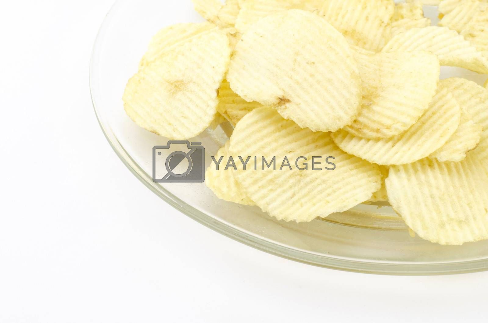 snack potato chips isolated on white background